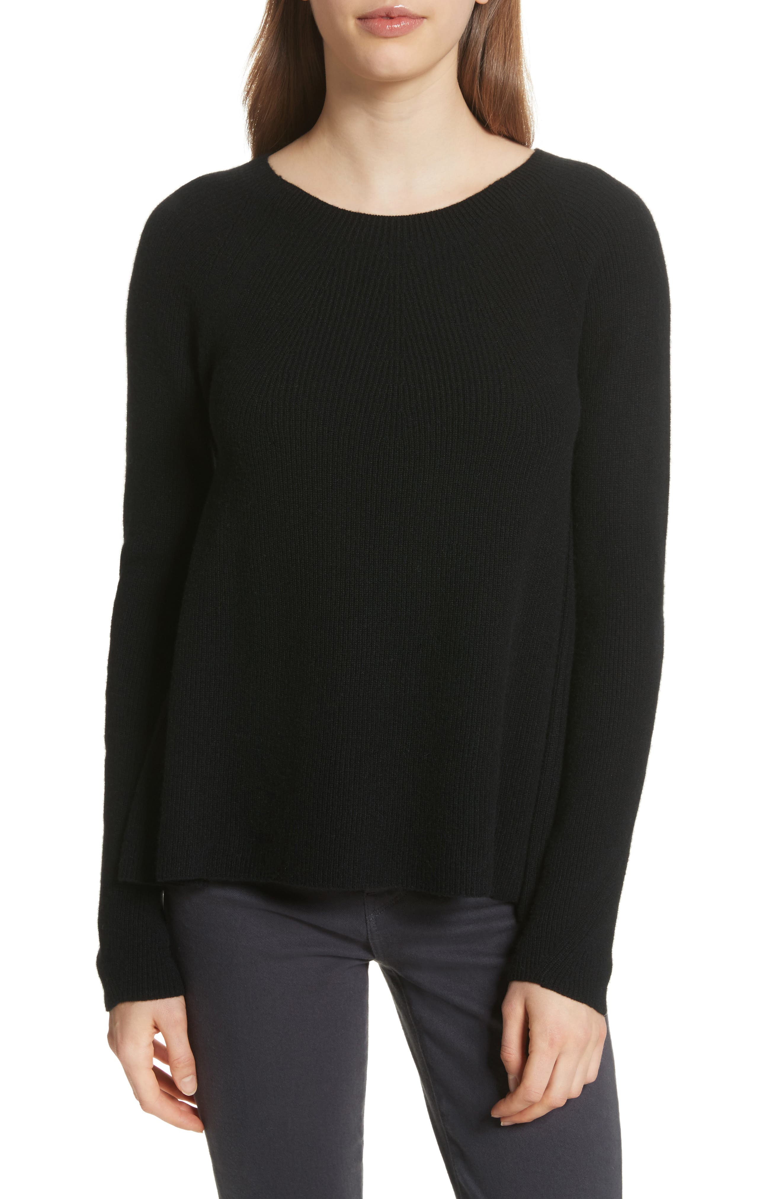 Ribbed Cashmere Sweater,                             Main thumbnail 1, color,                             Black