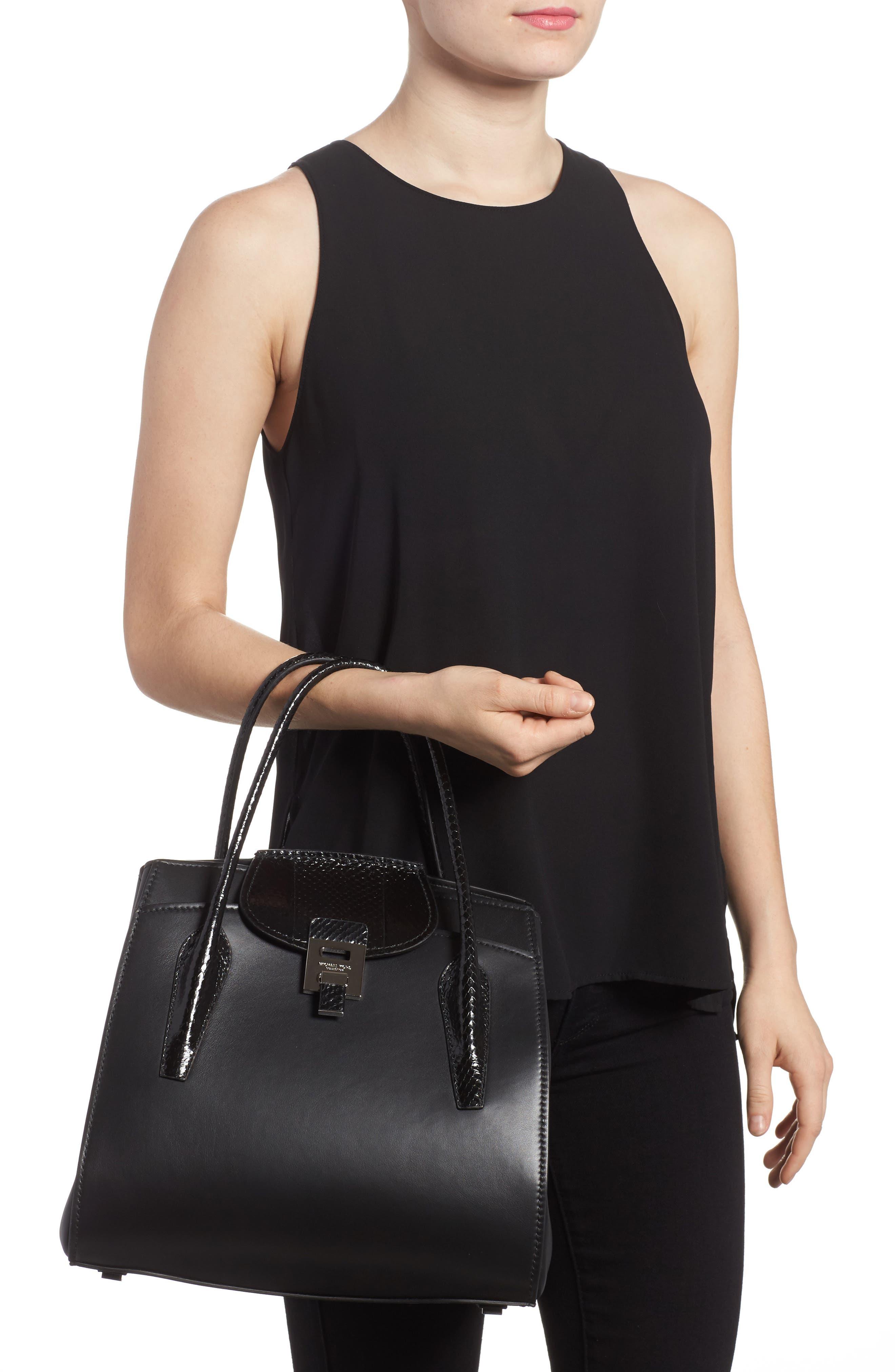Large Bancroft Leather Top Handle Satchel,                             Alternate thumbnail 2, color,                             Black