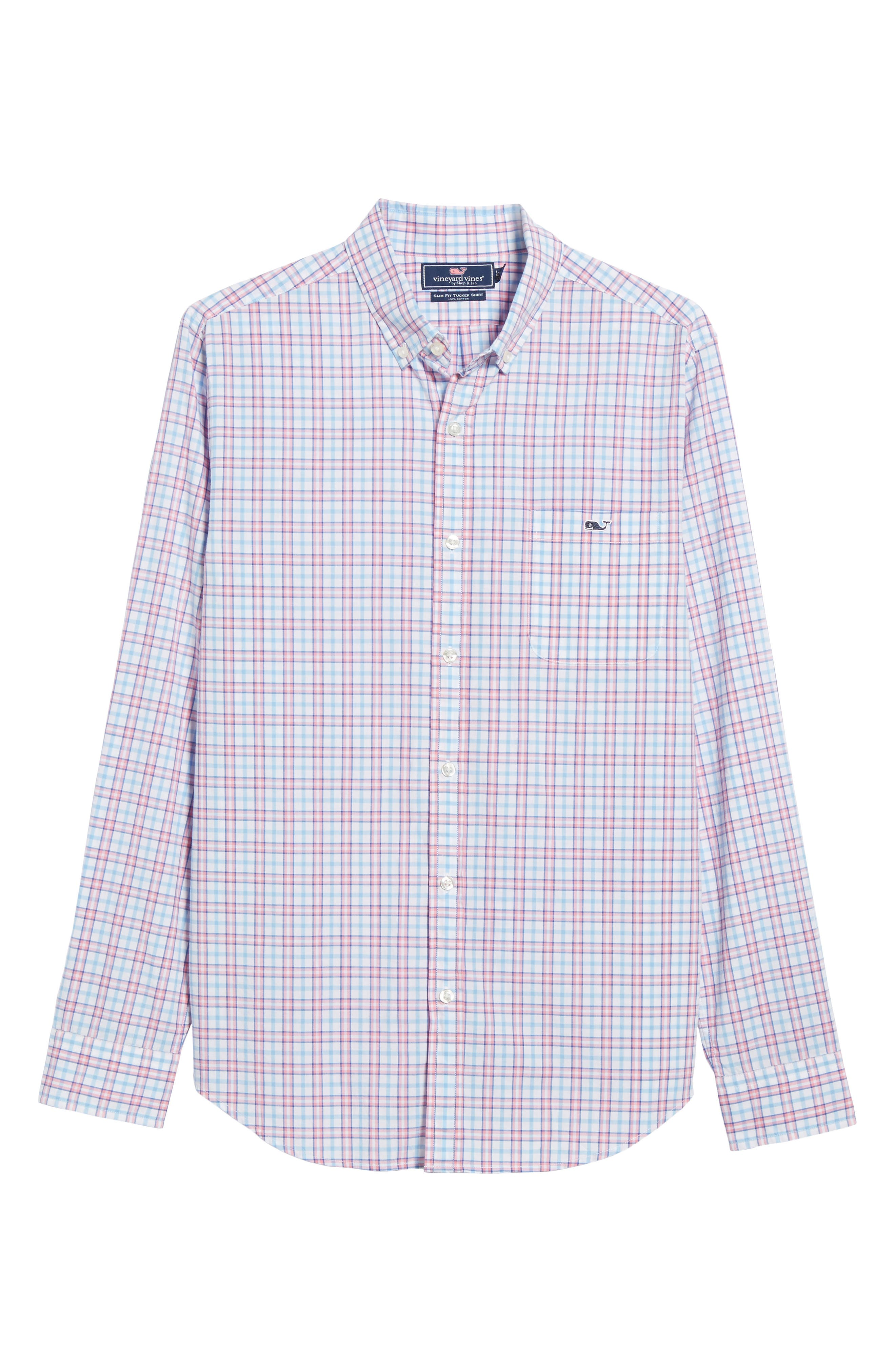 Kennard Tucker Slim Fit Plaid Sport Shirt,                             Alternate thumbnail 5, color,                             Bahama Breeze
