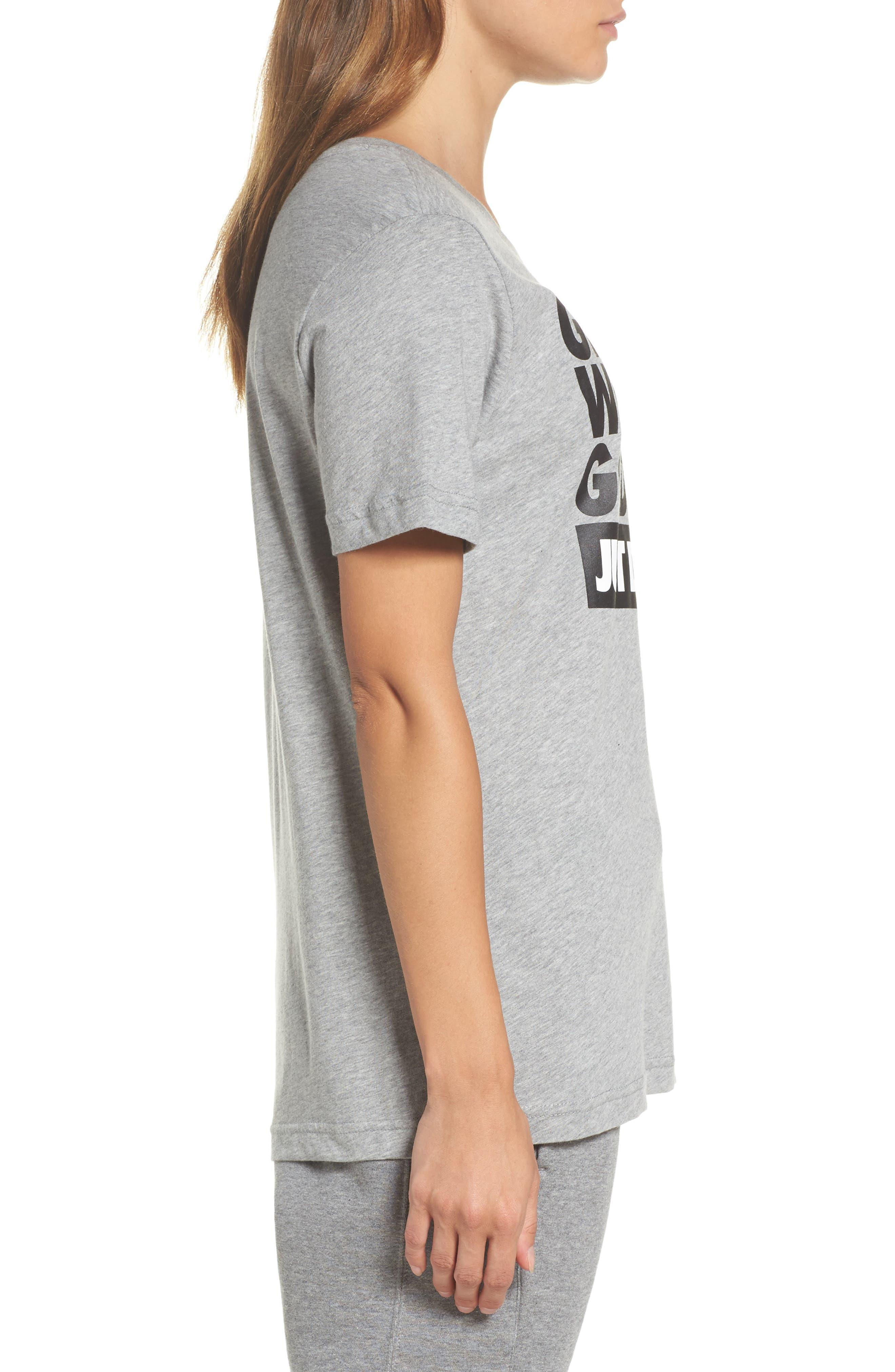 Sportswear Goddess Graphic Tee,                             Alternate thumbnail 3, color,                             Dark Grey Heather/ Black