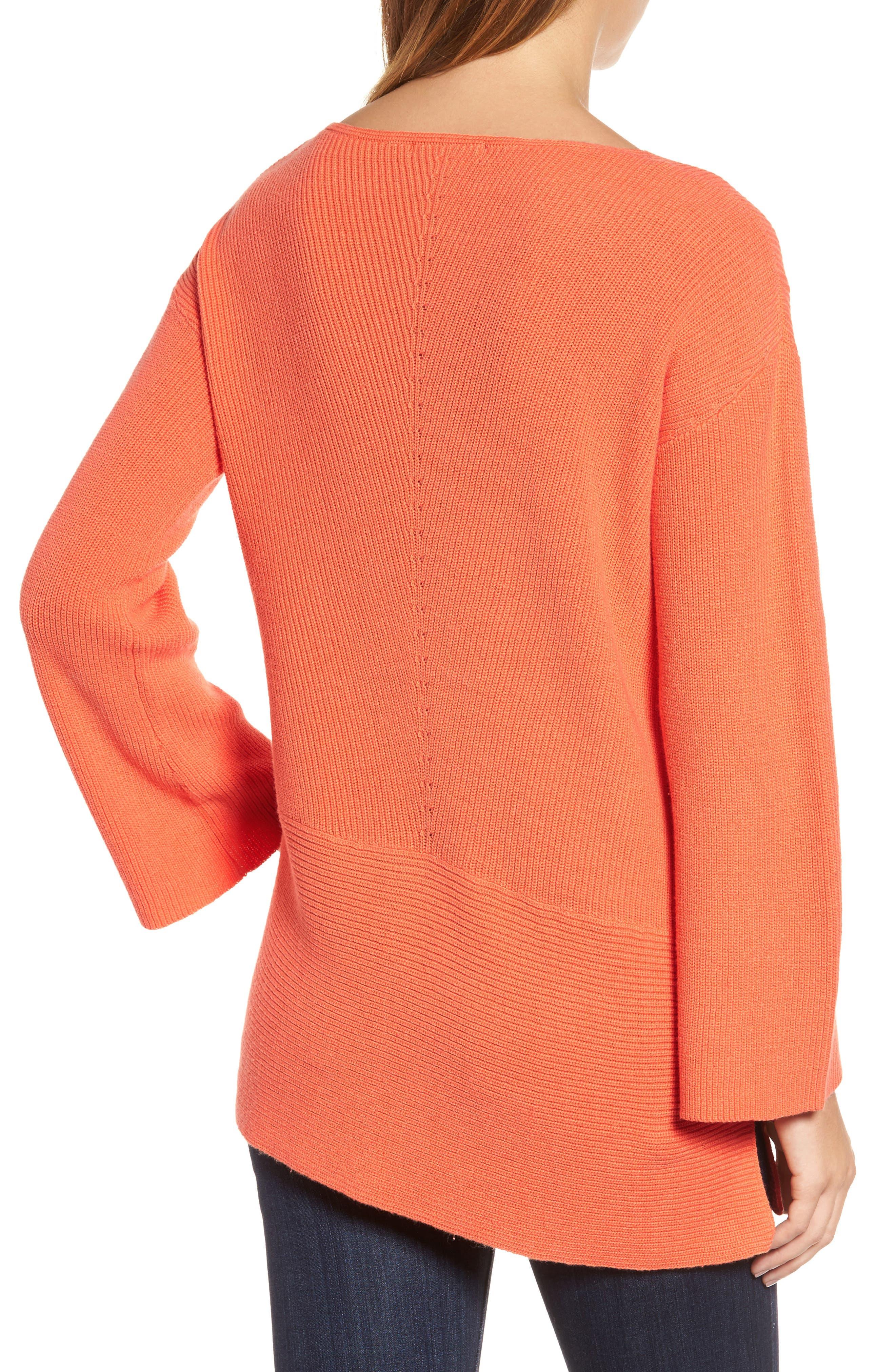 Ribbed Asymmetrical Hem Sweater,                             Alternate thumbnail 2, color,                             Cactus Rose