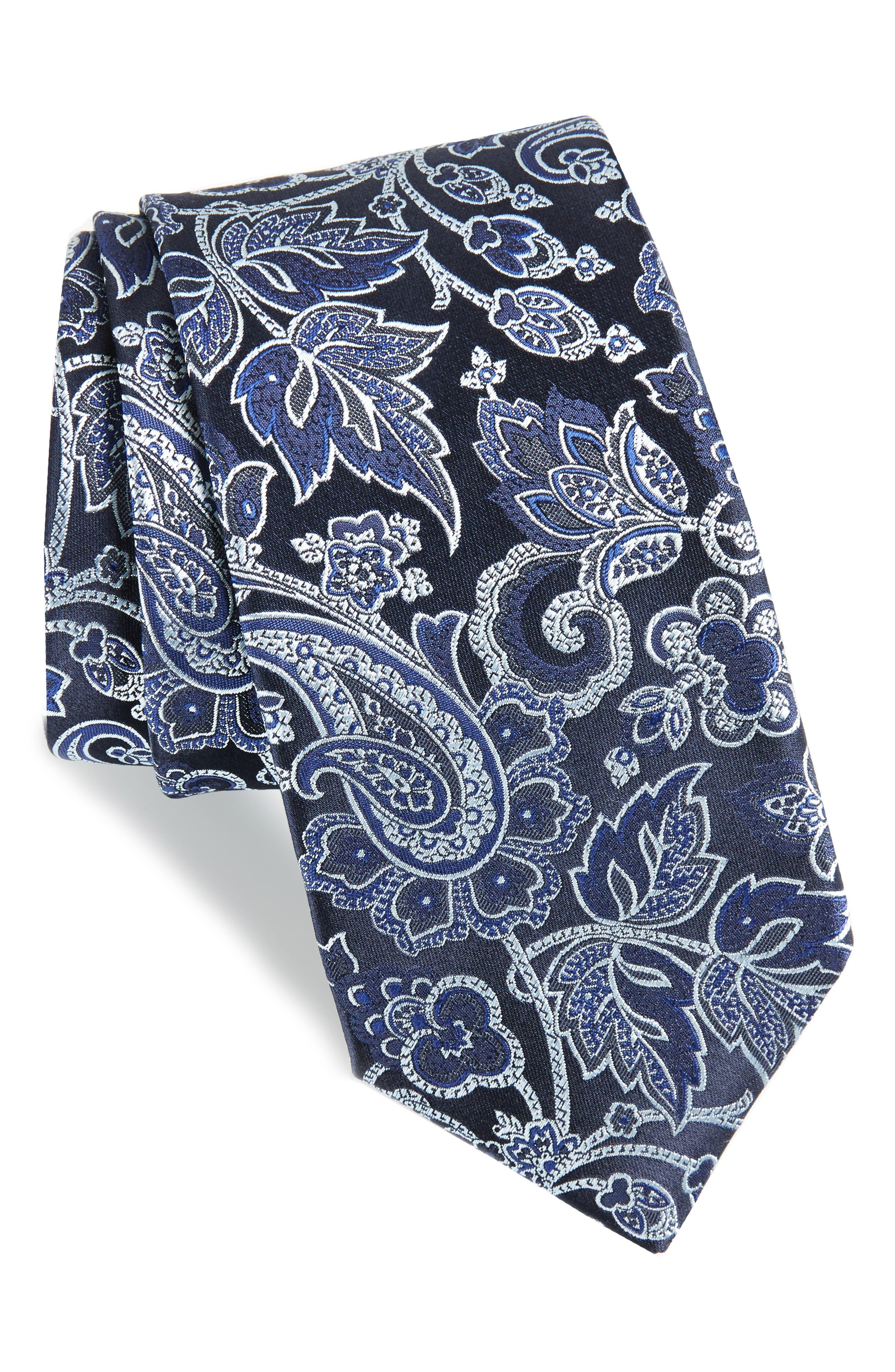 Paisley Silk Tie,                             Main thumbnail 1, color,                             Black/ Navy