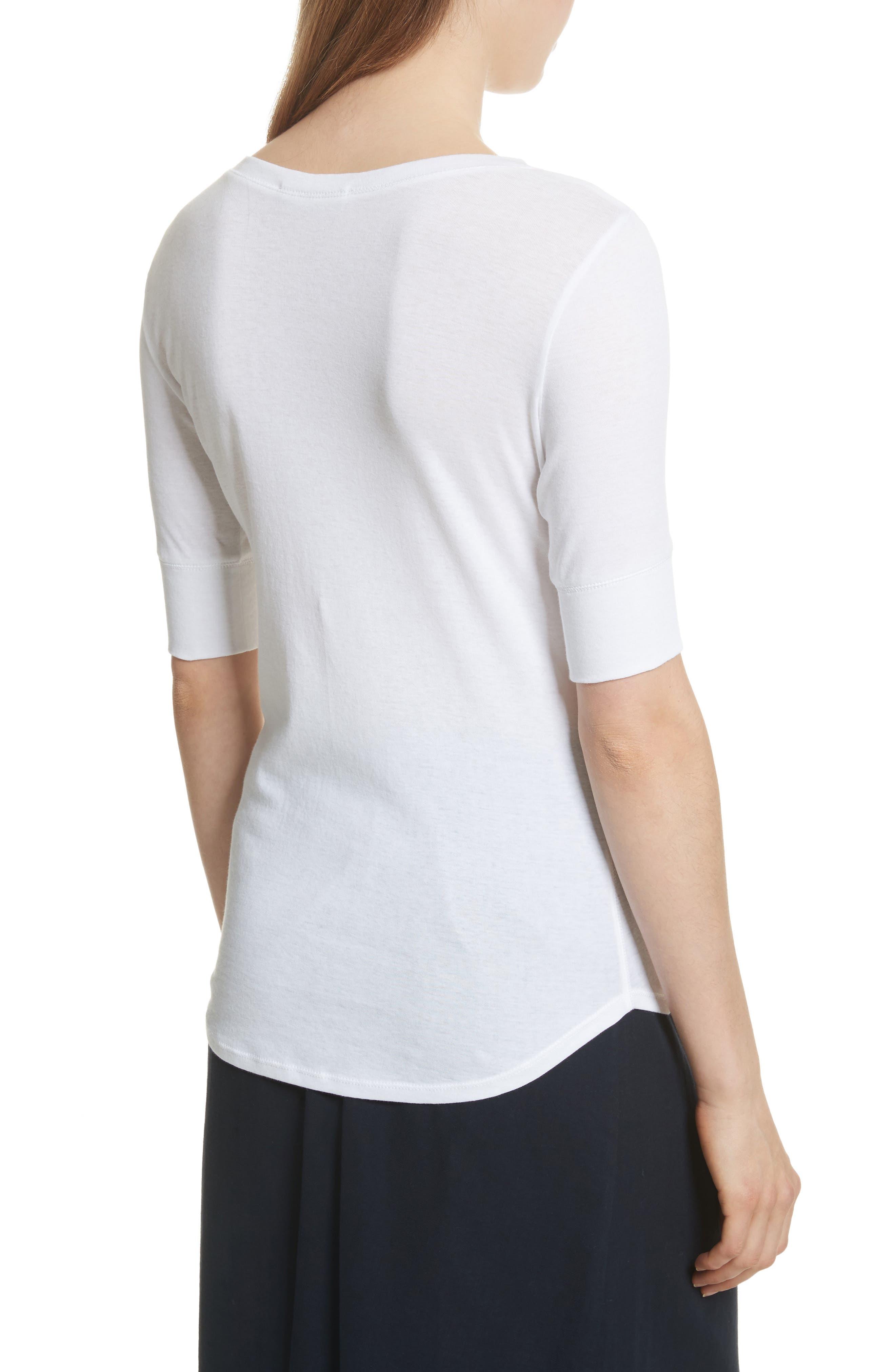 Elbow Sleeve Henley Cotton Top,                             Alternate thumbnail 2, color,                             Optic White