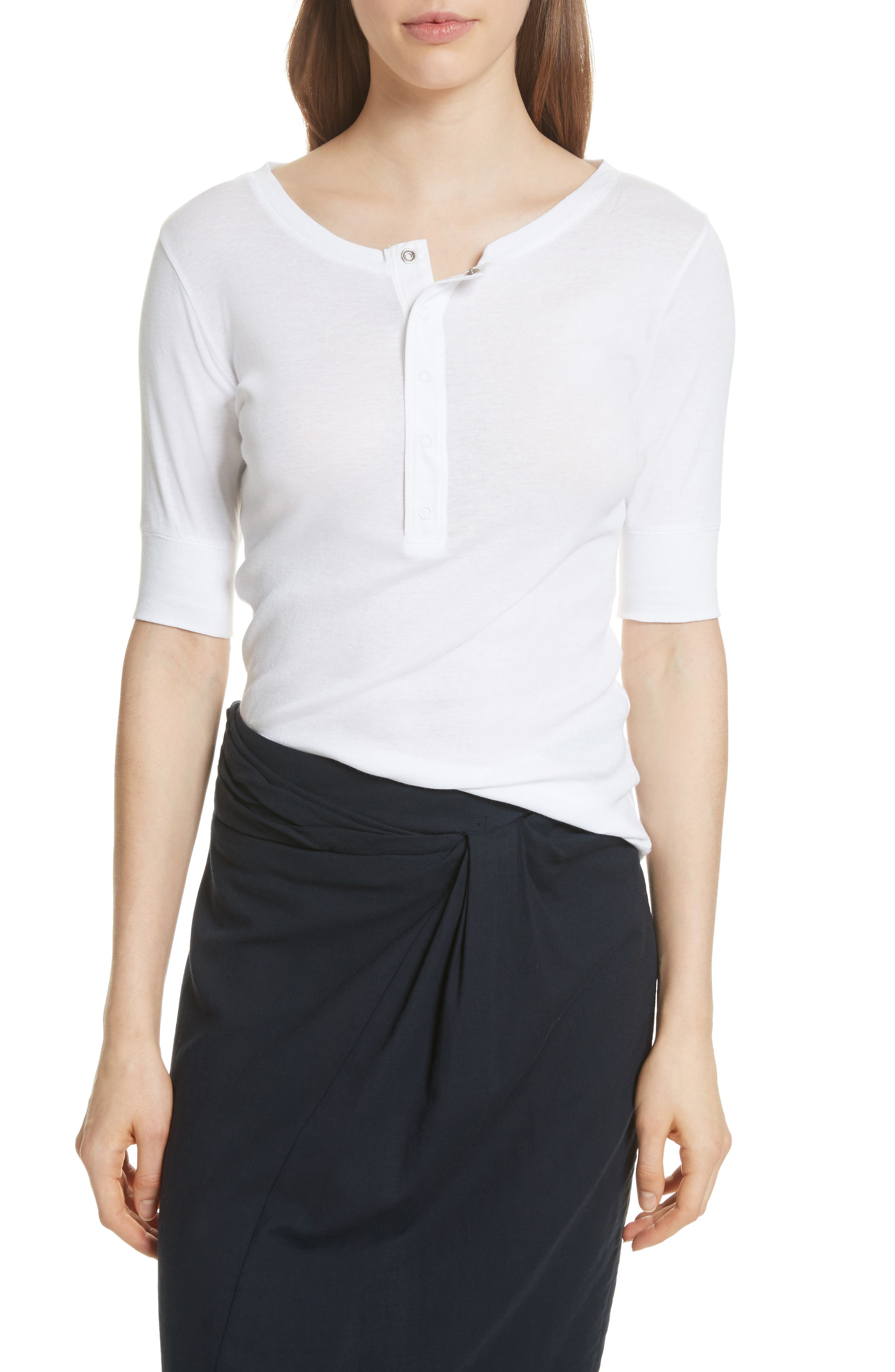 Elbow Sleeve Henley Cotton Top,                         Main,                         color, Optic White