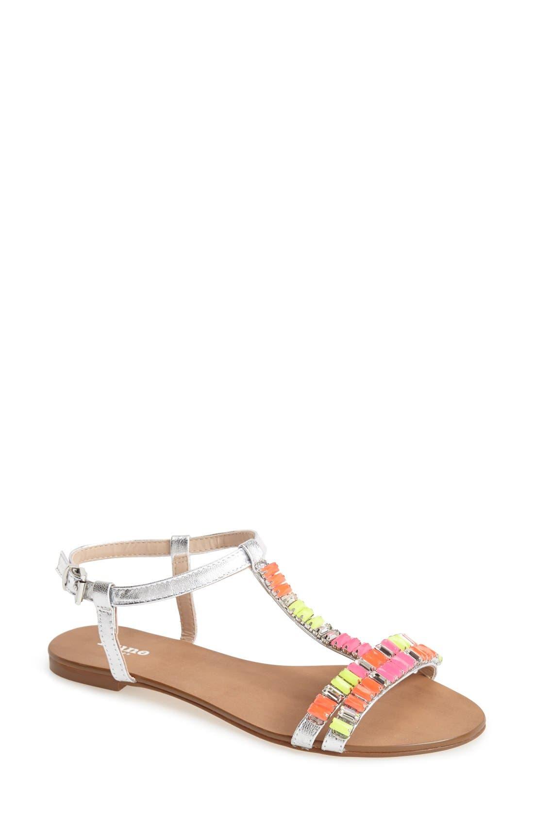 Alternate Image 1 Selected - Dune London 'Nimbo' Beaded T-Strap Flat Sandal (Women)