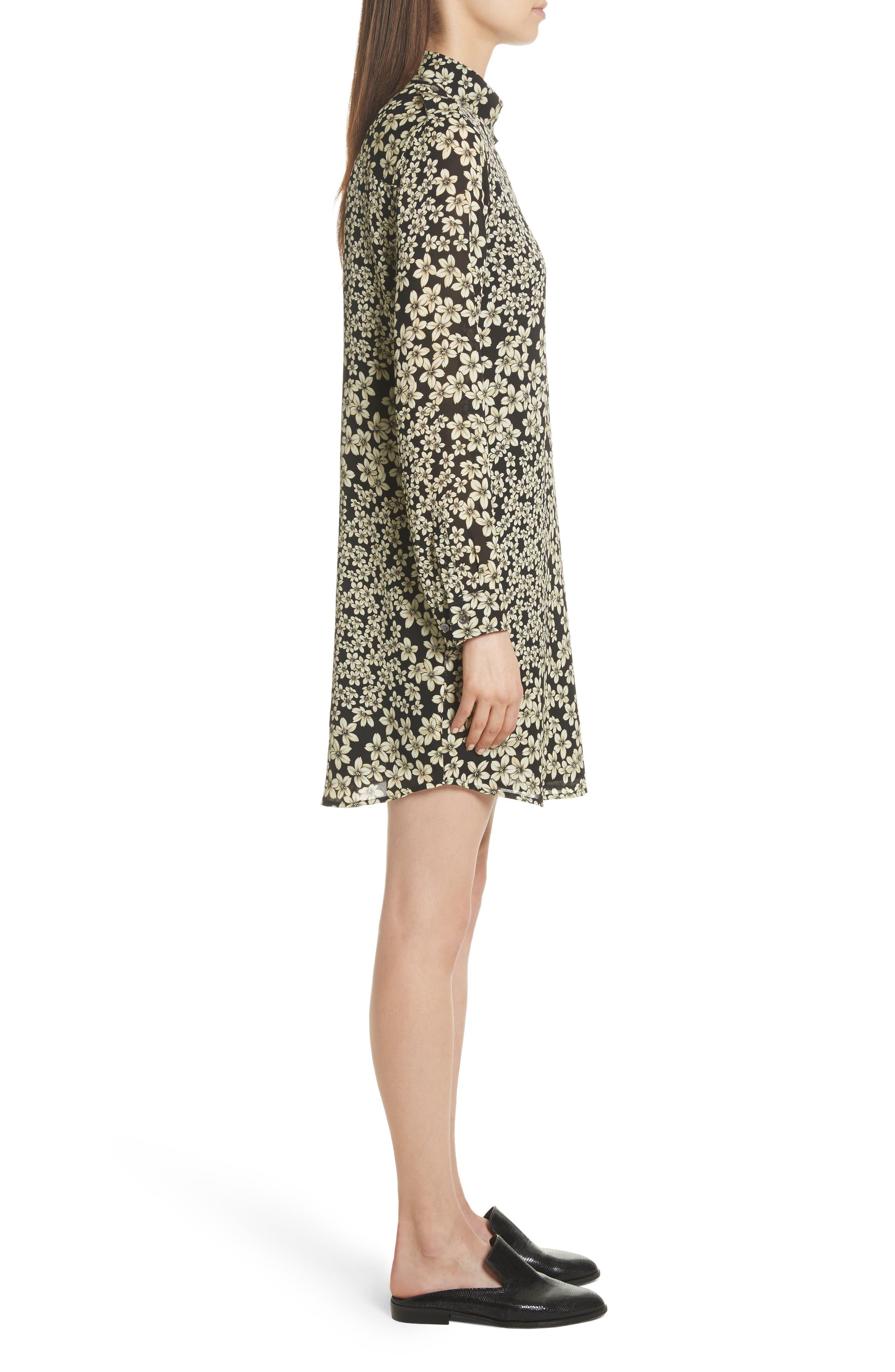 Freda Floral Print Silk Shirtdress,                             Alternate thumbnail 3, color,                             True Black Multi