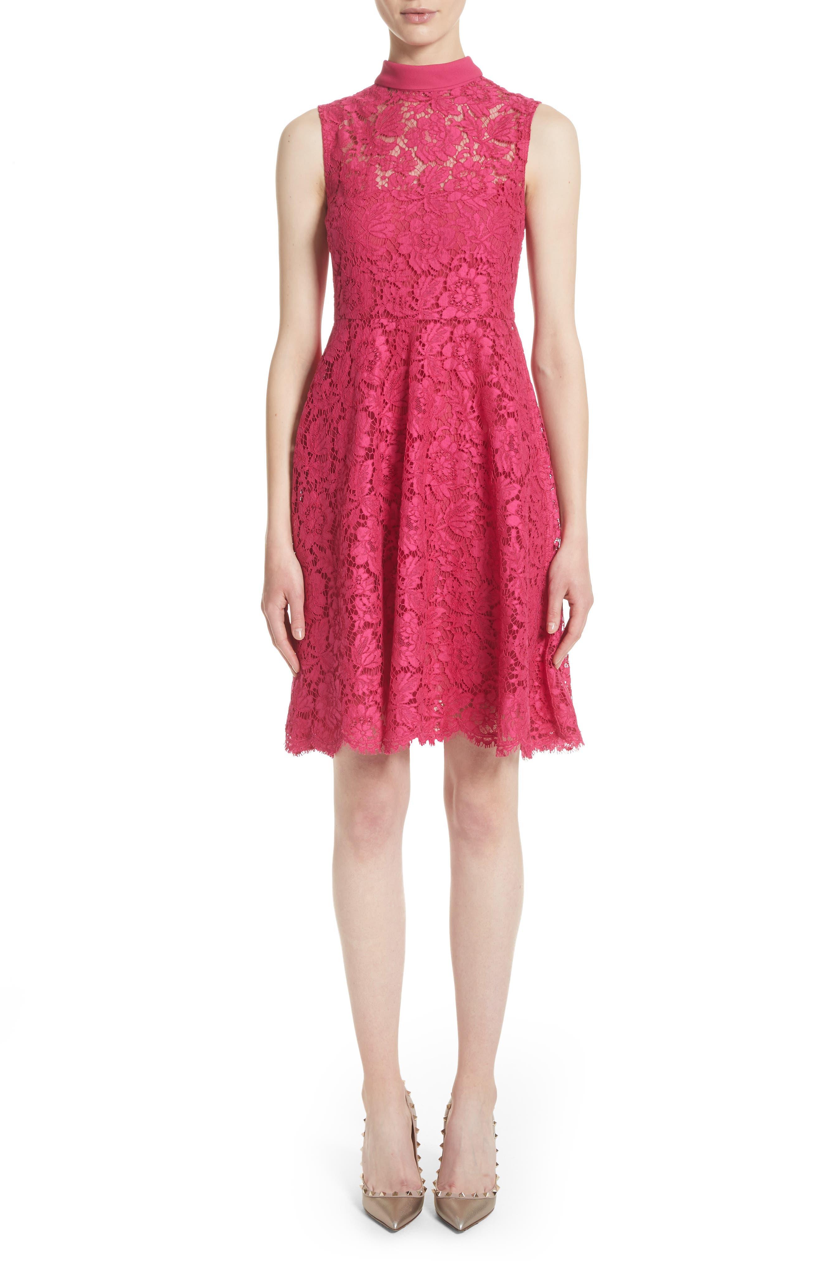 Tie Neck Guipure Lace Dress,                         Main,                         color, Pink