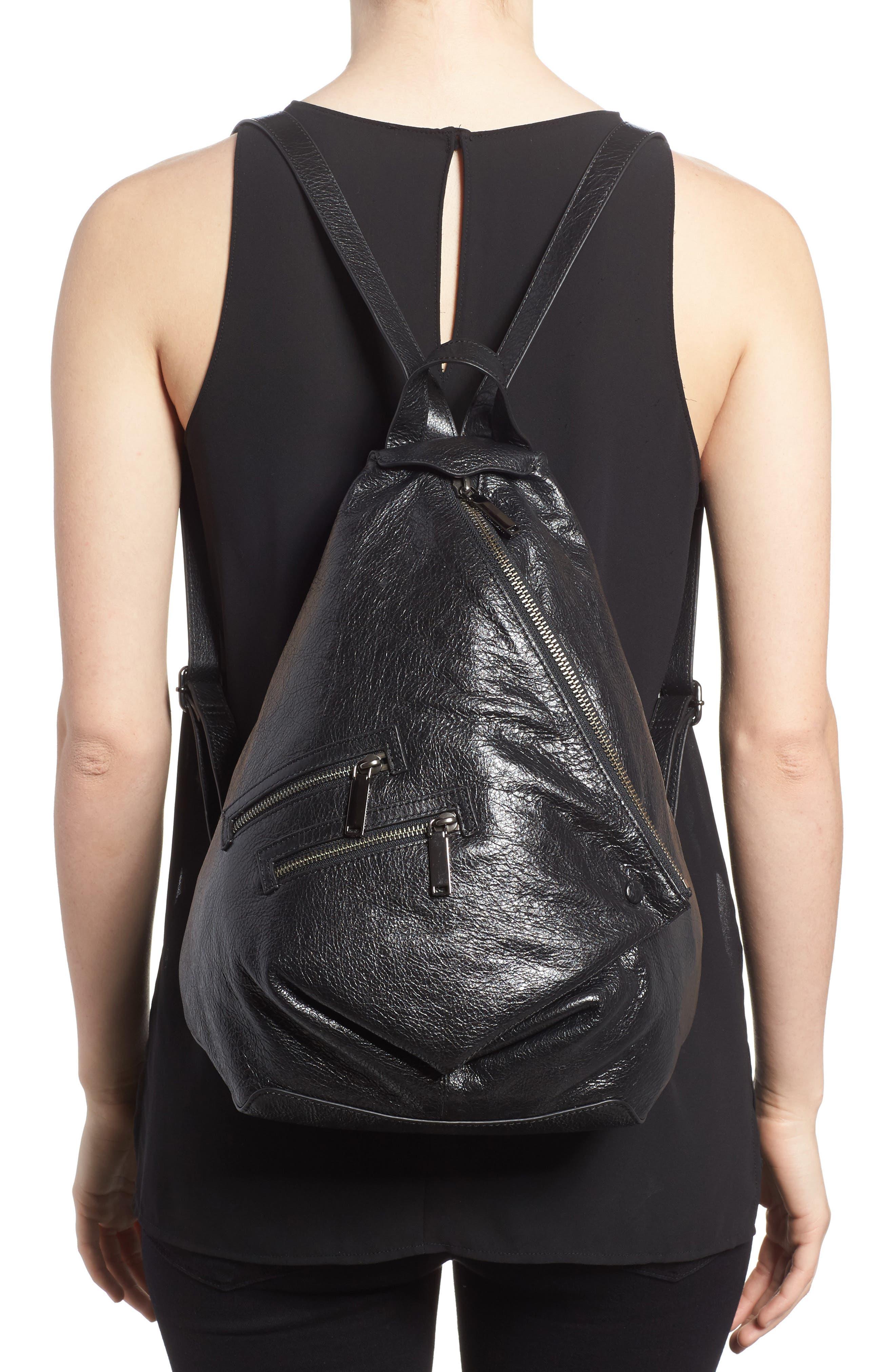Jamie Leather Backpack,                             Alternate thumbnail 2, color,                             Black