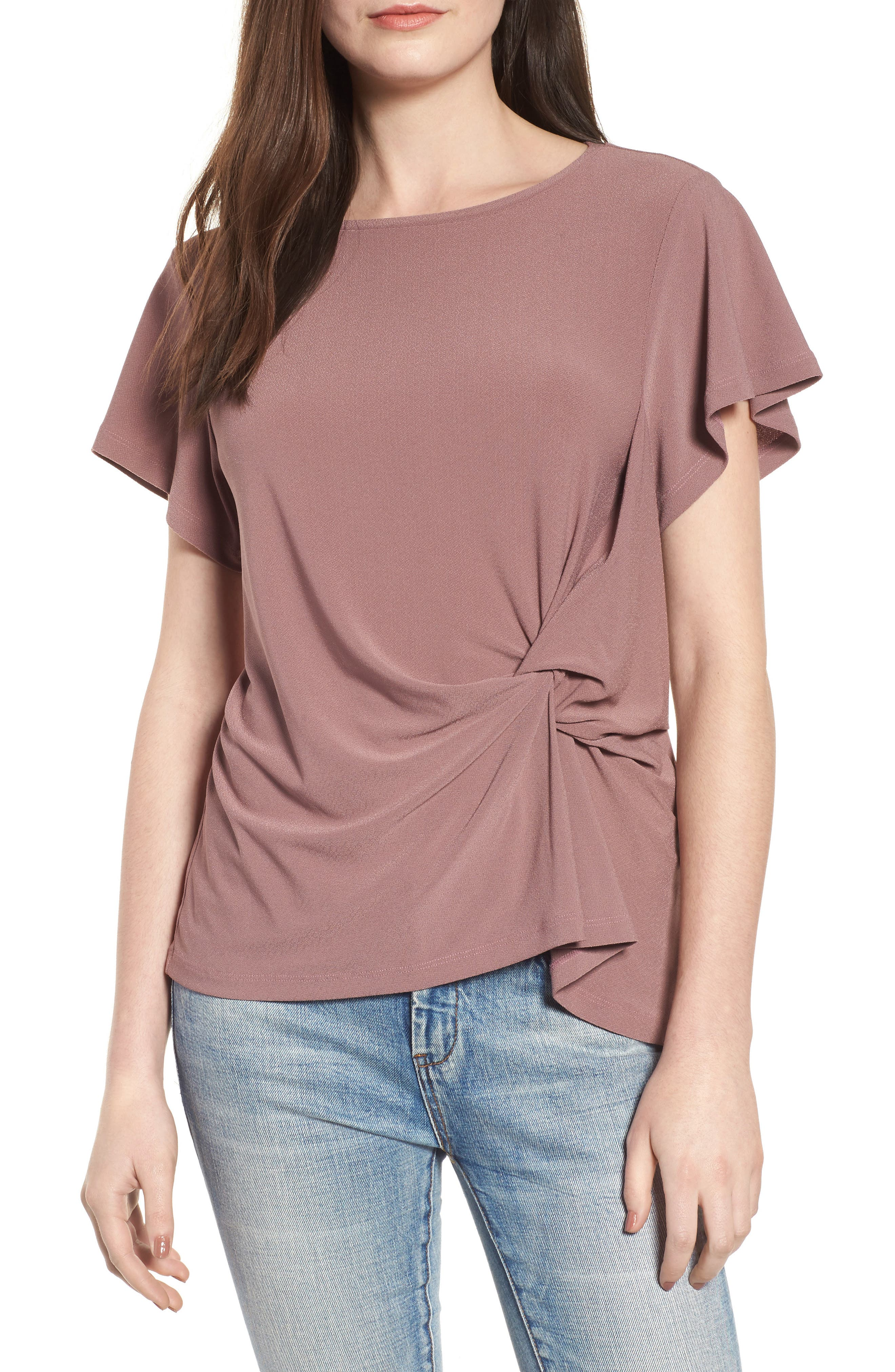 Side Knot Tee,                             Main thumbnail 1, color,                             Purple Taupe