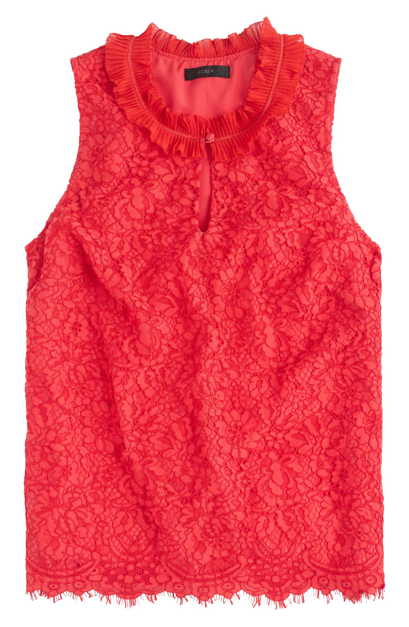 Lace Ruffle Neck Top,                             Main thumbnail 1, color,                             Bright Cerise