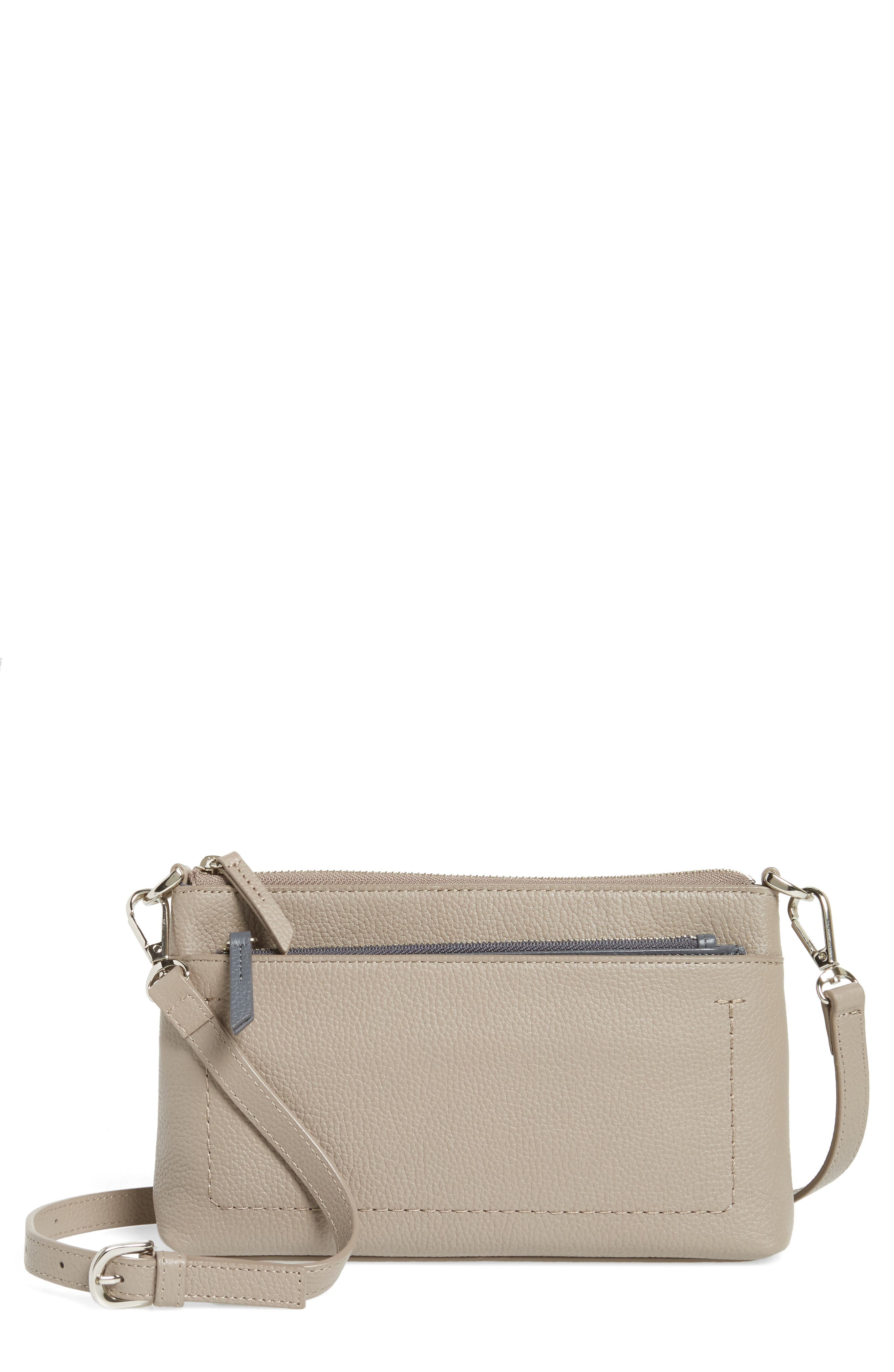 Brixton Convertible Leather Crossbody Bag with Pop-Out Card Holder,                         Main,                         color, Grey Taupe