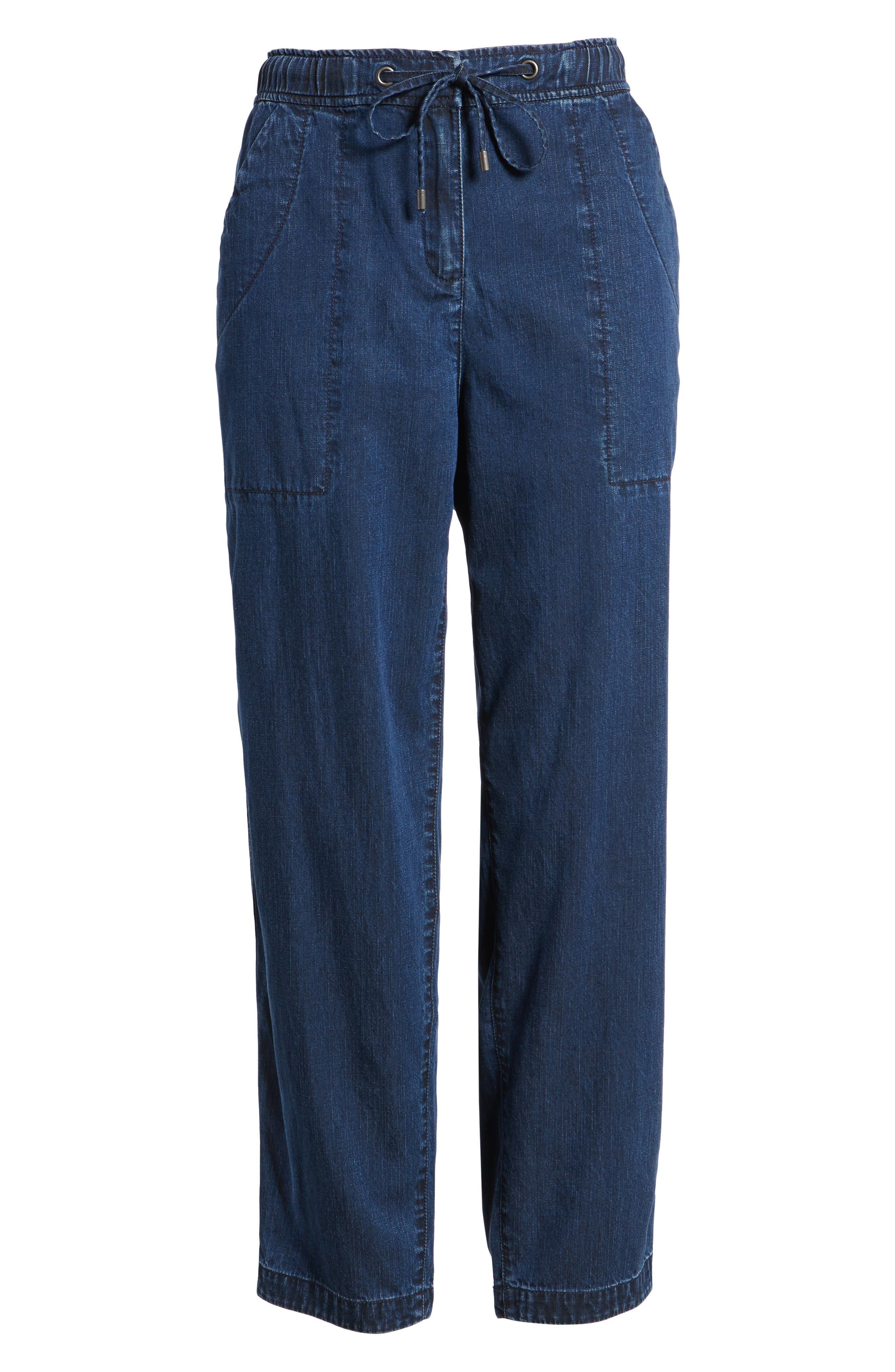 Slouchy Ankle Denim Pants,                             Alternate thumbnail 7, color,                             Midnight