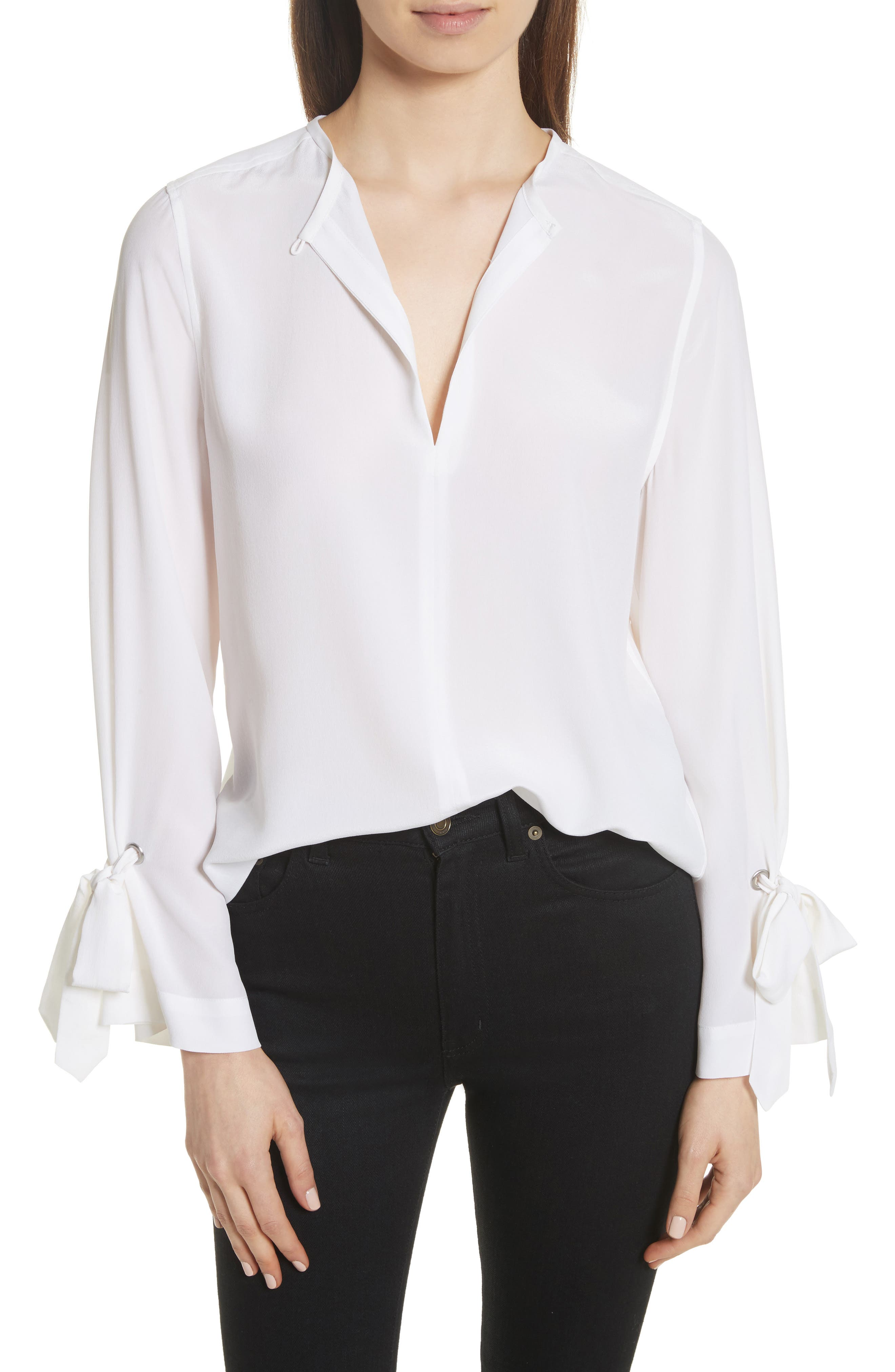 Sayer Tie Sleeve Silk Top,                             Main thumbnail 1, color,                             Bright White