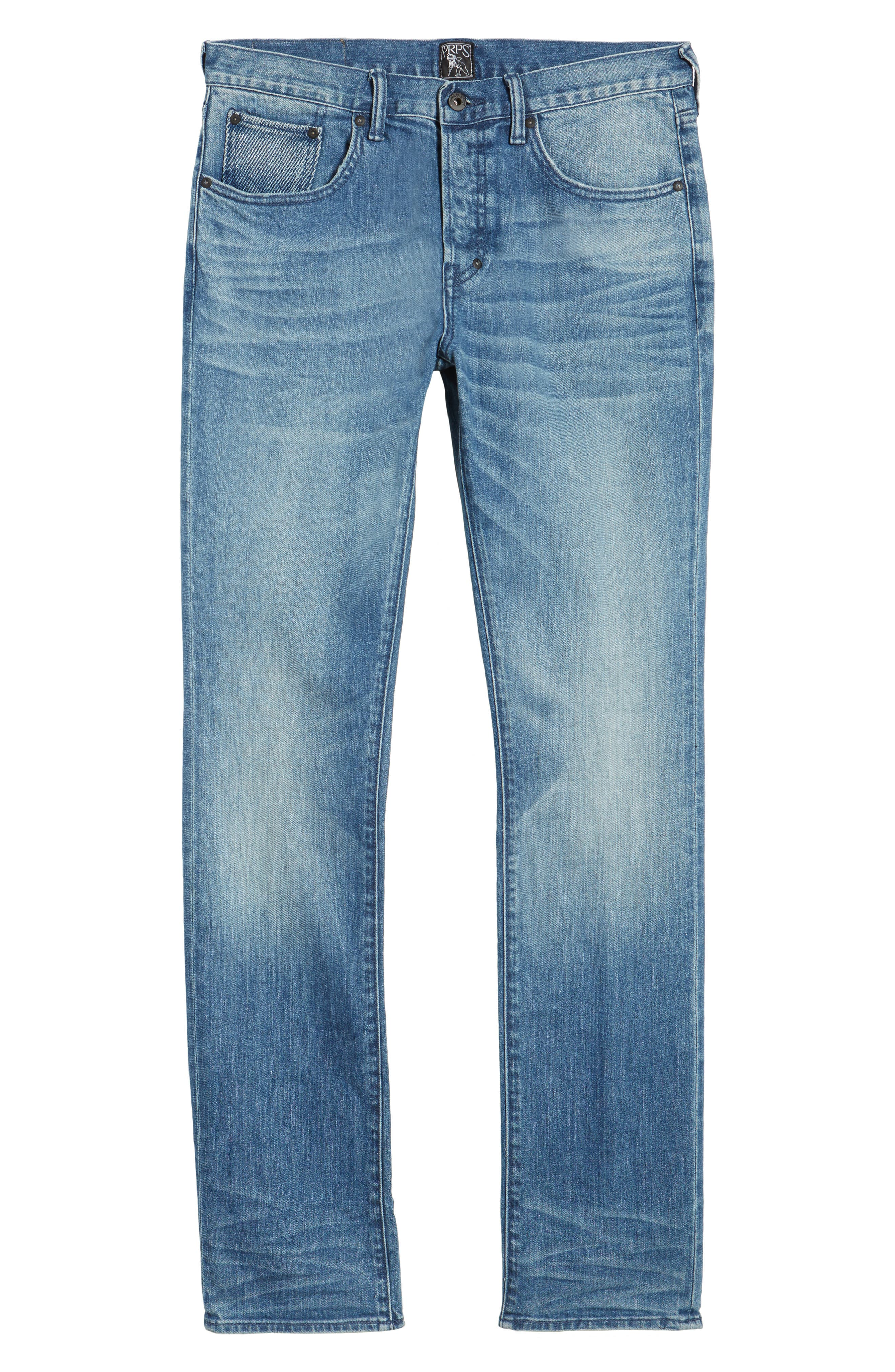 Denim Slim Straight Leg Jeans,                             Alternate thumbnail 6, color,                             Light Blue