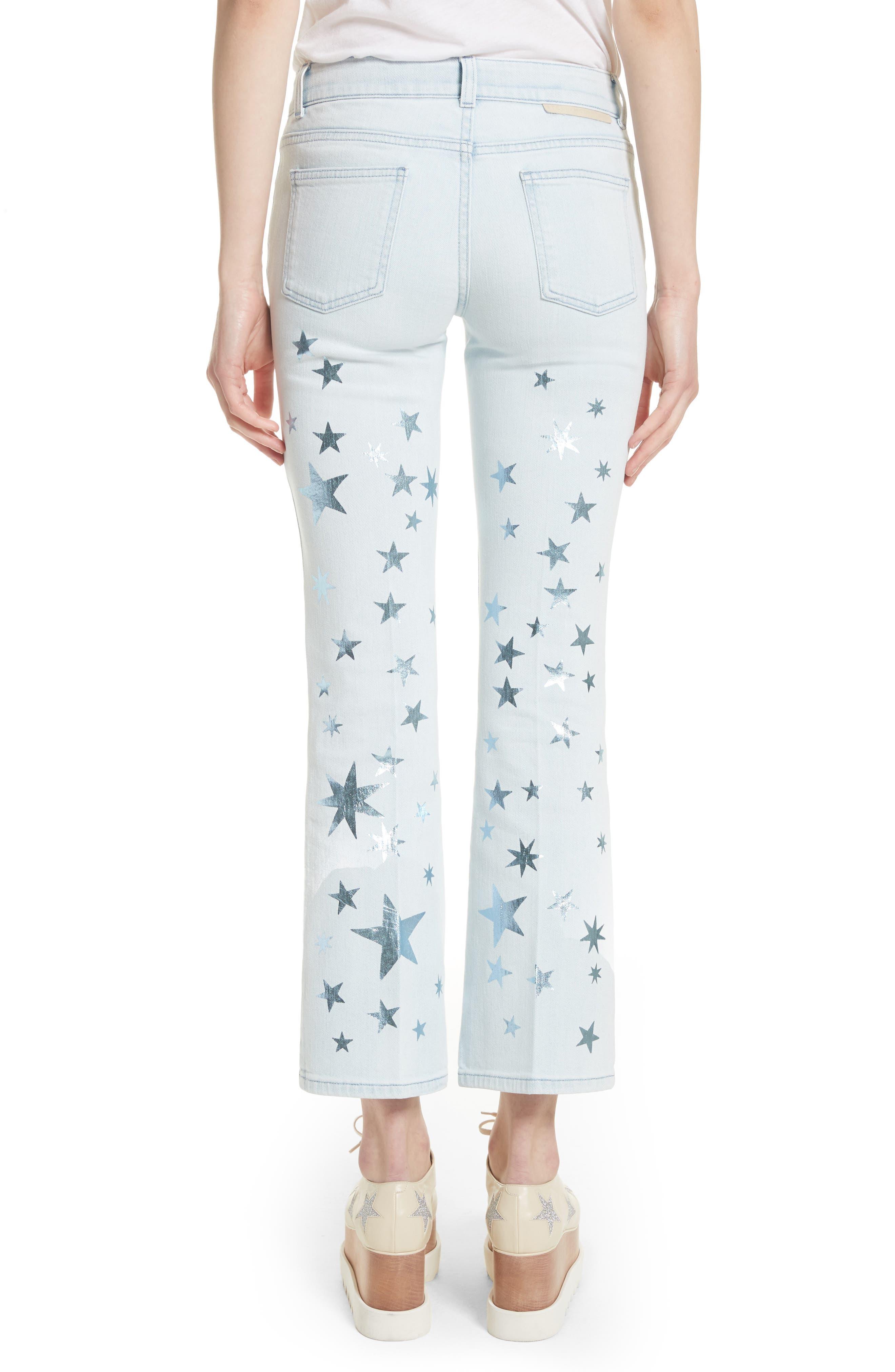 Metallic Star Kick Flare Jeans,                             Alternate thumbnail 2, color,                             Sun Faded Blue