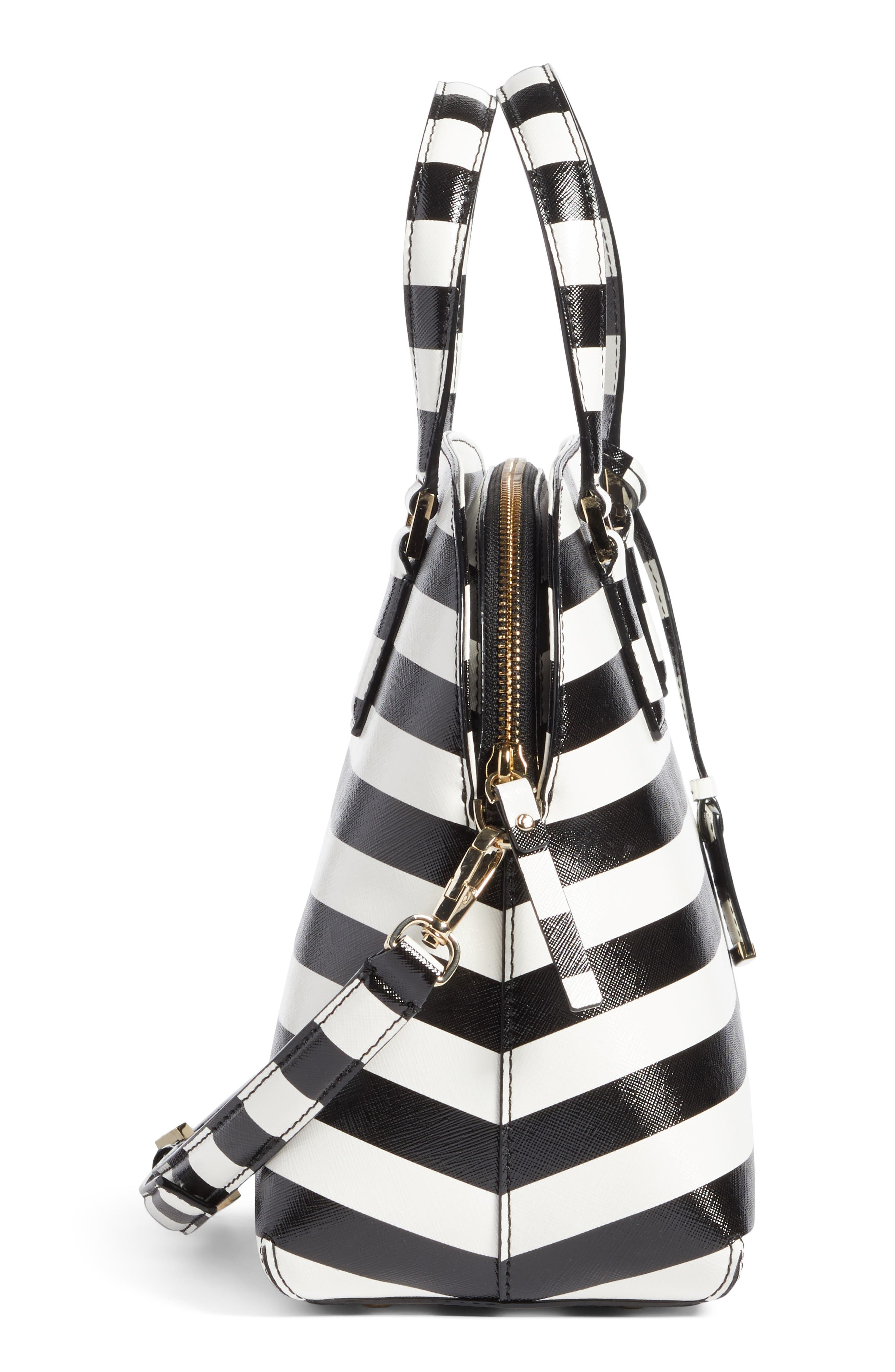 cameron street - lottie stripe satchel,                             Alternate thumbnail 5, color,                             Black/ Cream