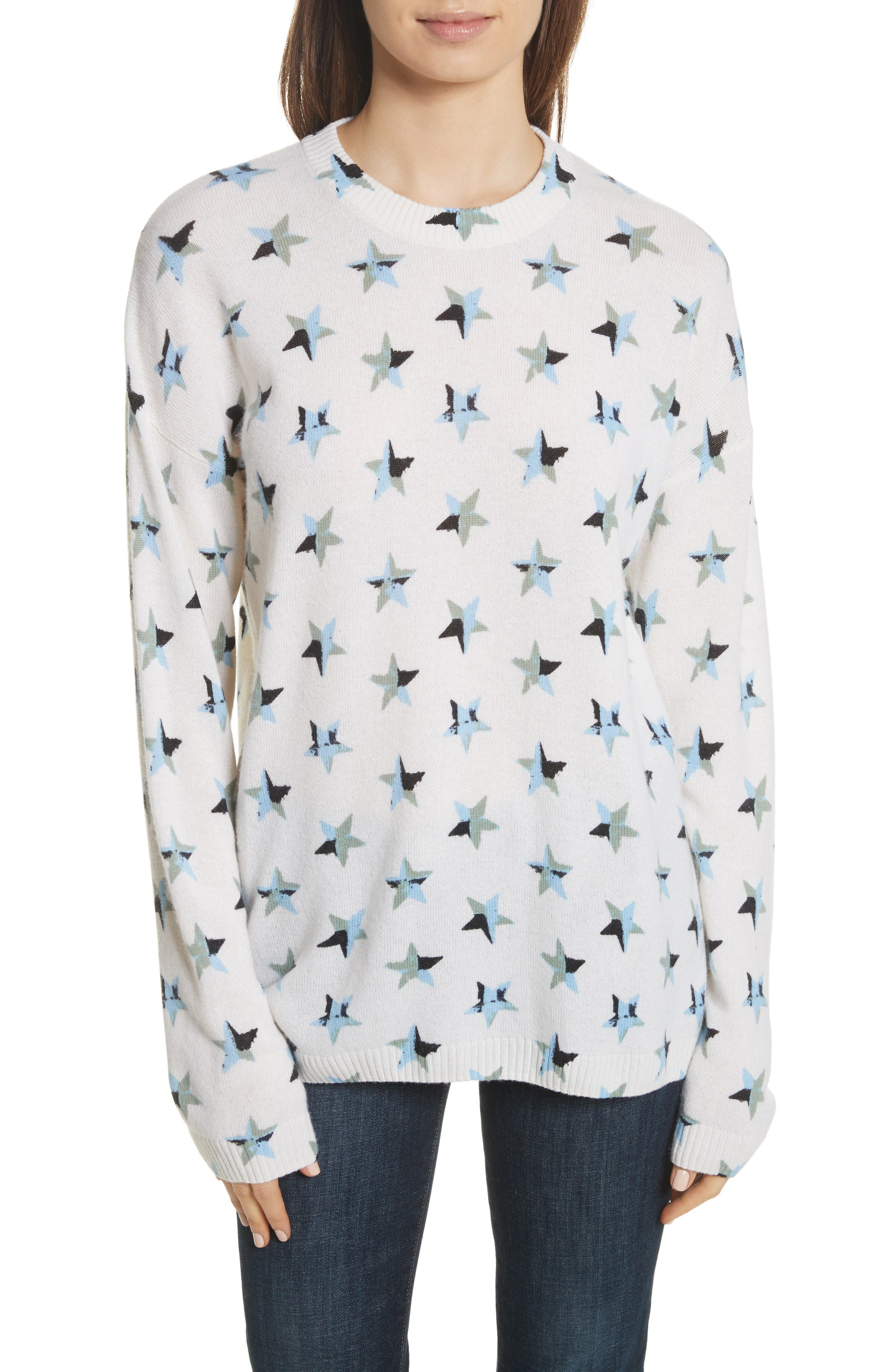 Bryce Star Print Cashmere Sweater,                             Main thumbnail 1, color,                             Ivory Multi