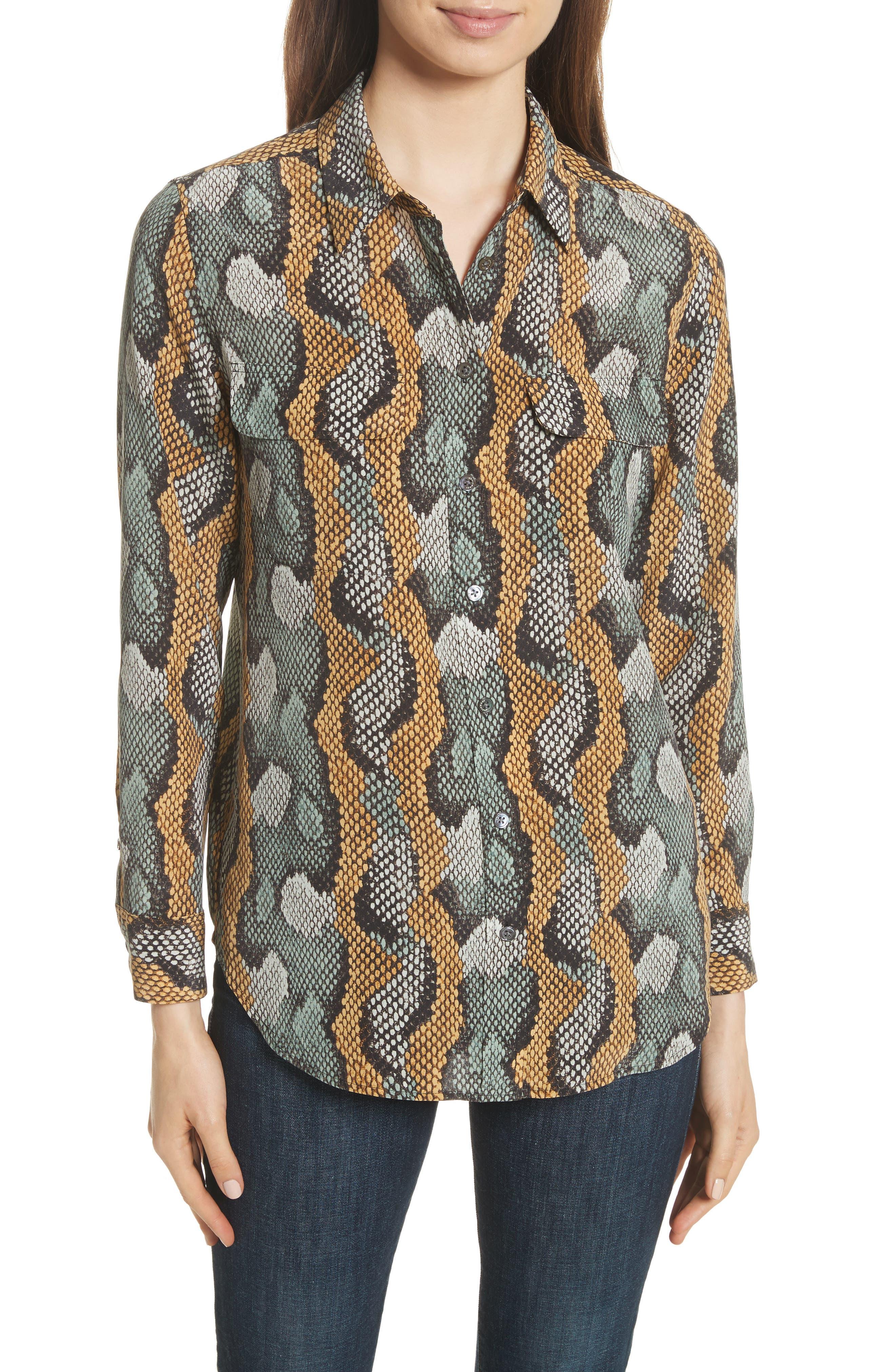 Slim Signature Python Print Silk Shirt,                         Main,                         color, Olive Branch Multi