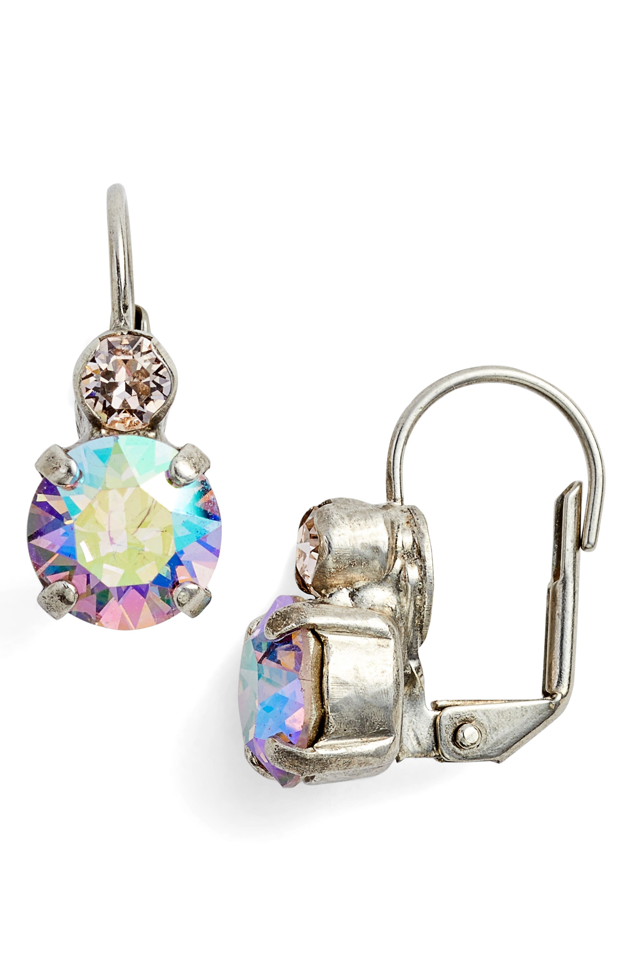 Crystal Drop Earrings,                         Main,                         color, Tan