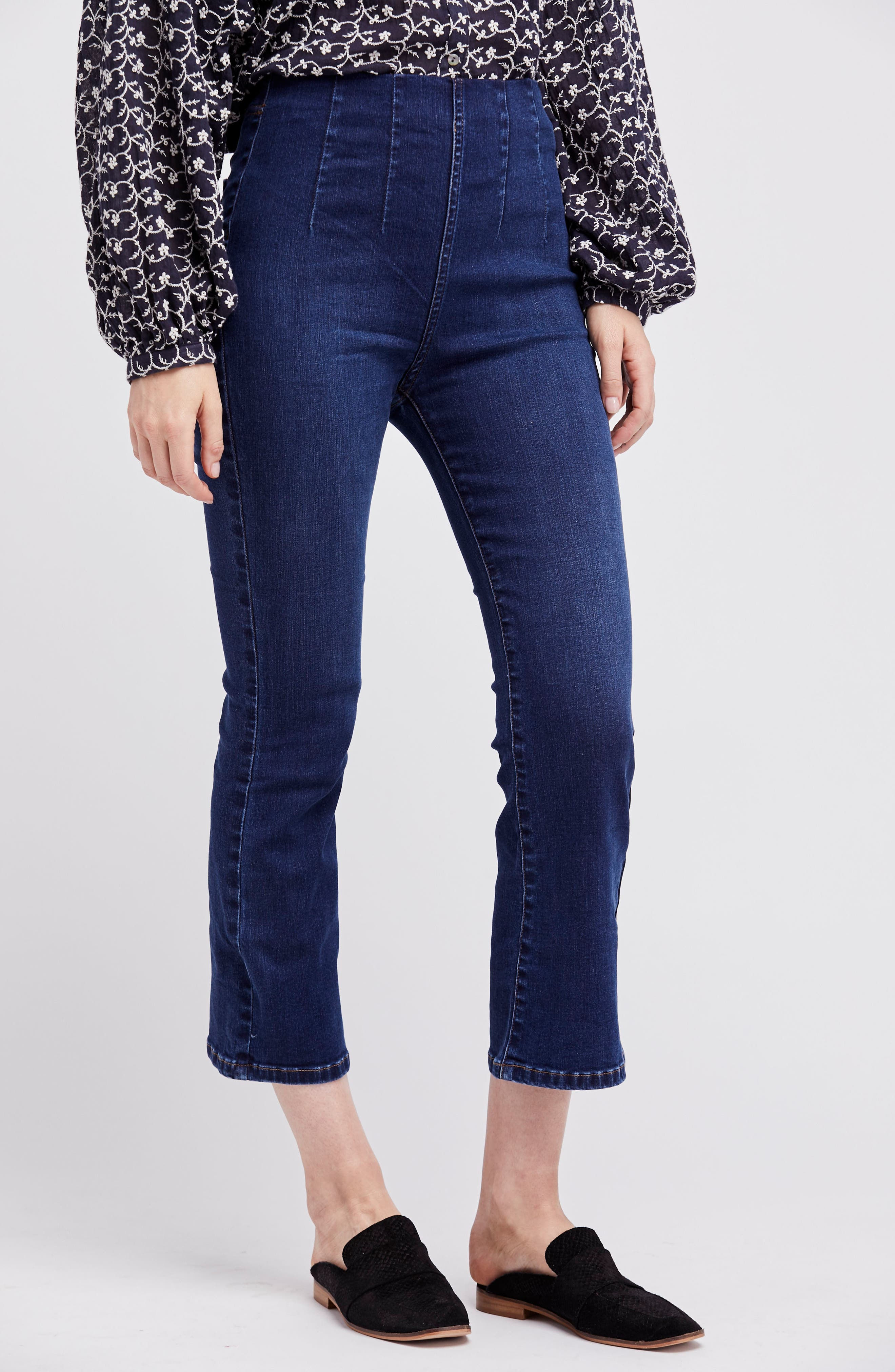 Pull-On Ultra High Waist Crop Bootcut Jeans,                             Alternate thumbnail 2, color,                             Blue