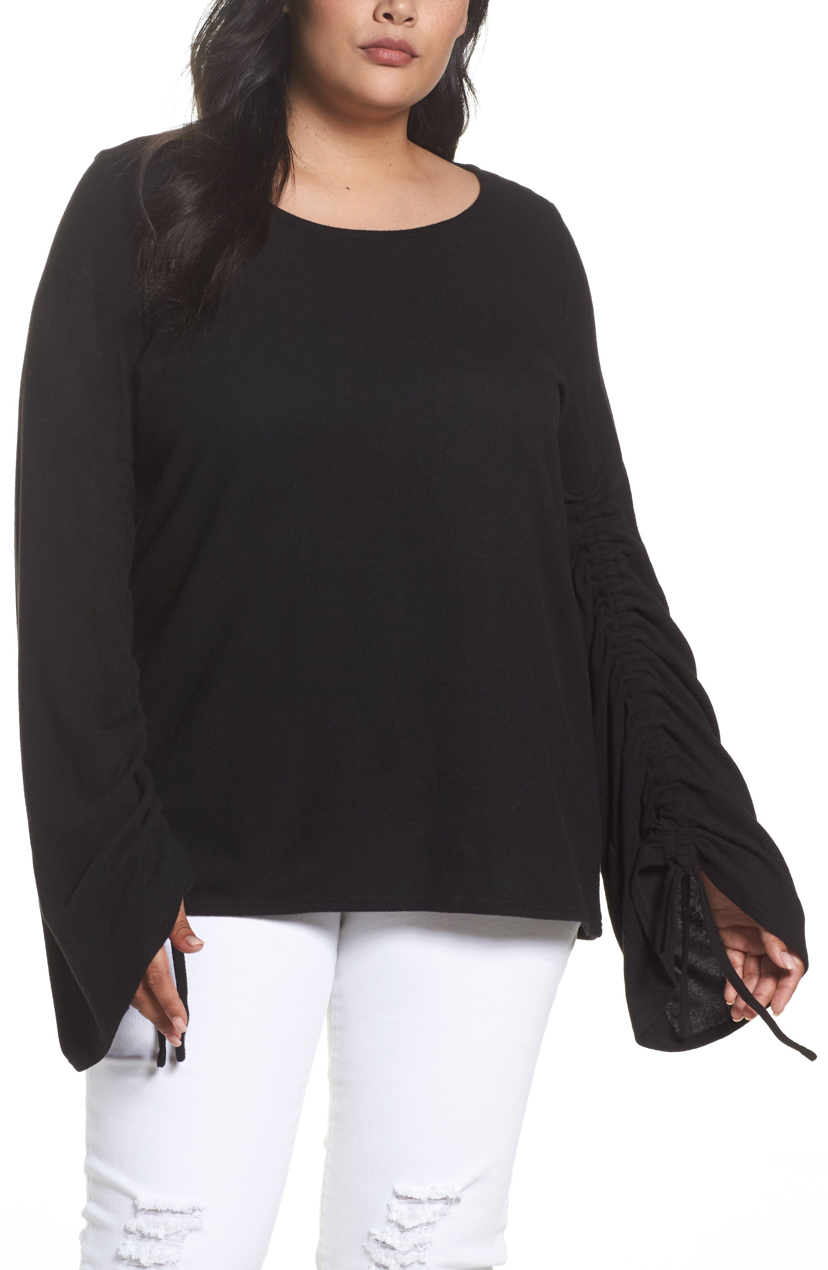 Drawstring Sleeve Top,                         Main,                         color, Rich Black