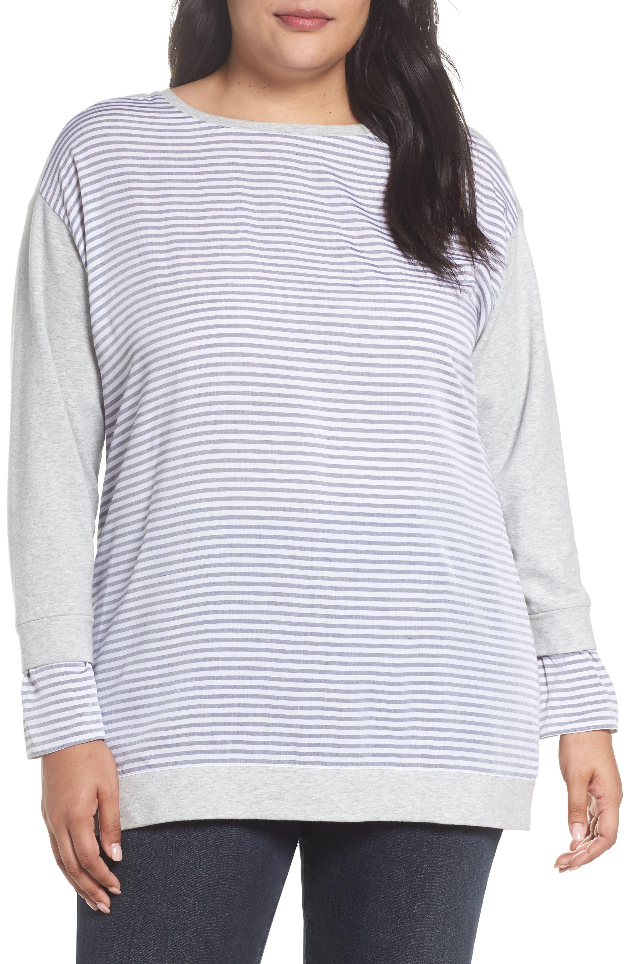 Mixed Media Sweatshirt,                         Main,                         color, Grey Heather