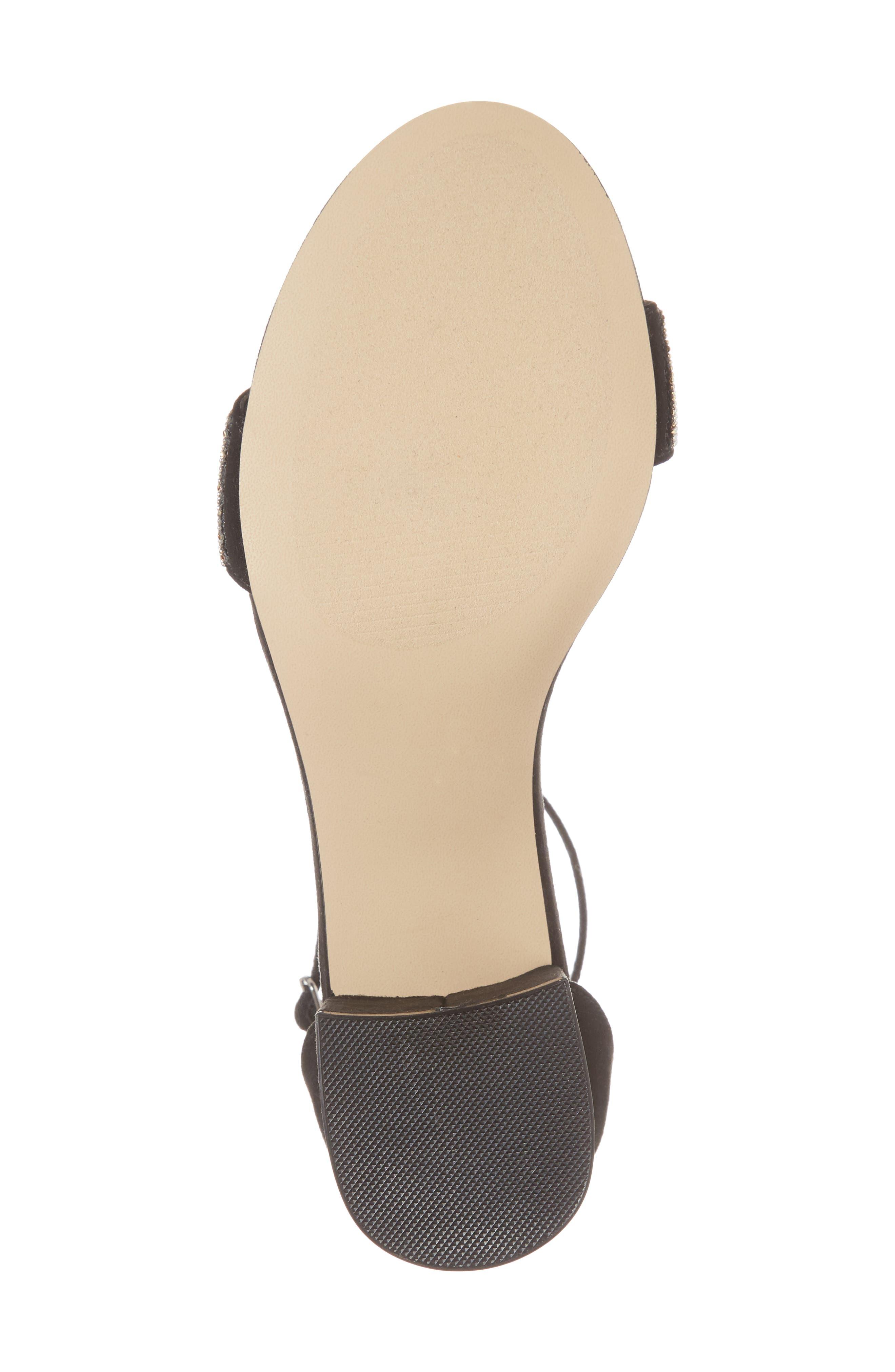 Jazmine Ankle Strap Sandal,                             Alternate thumbnail 6, color,                             Black Suede
