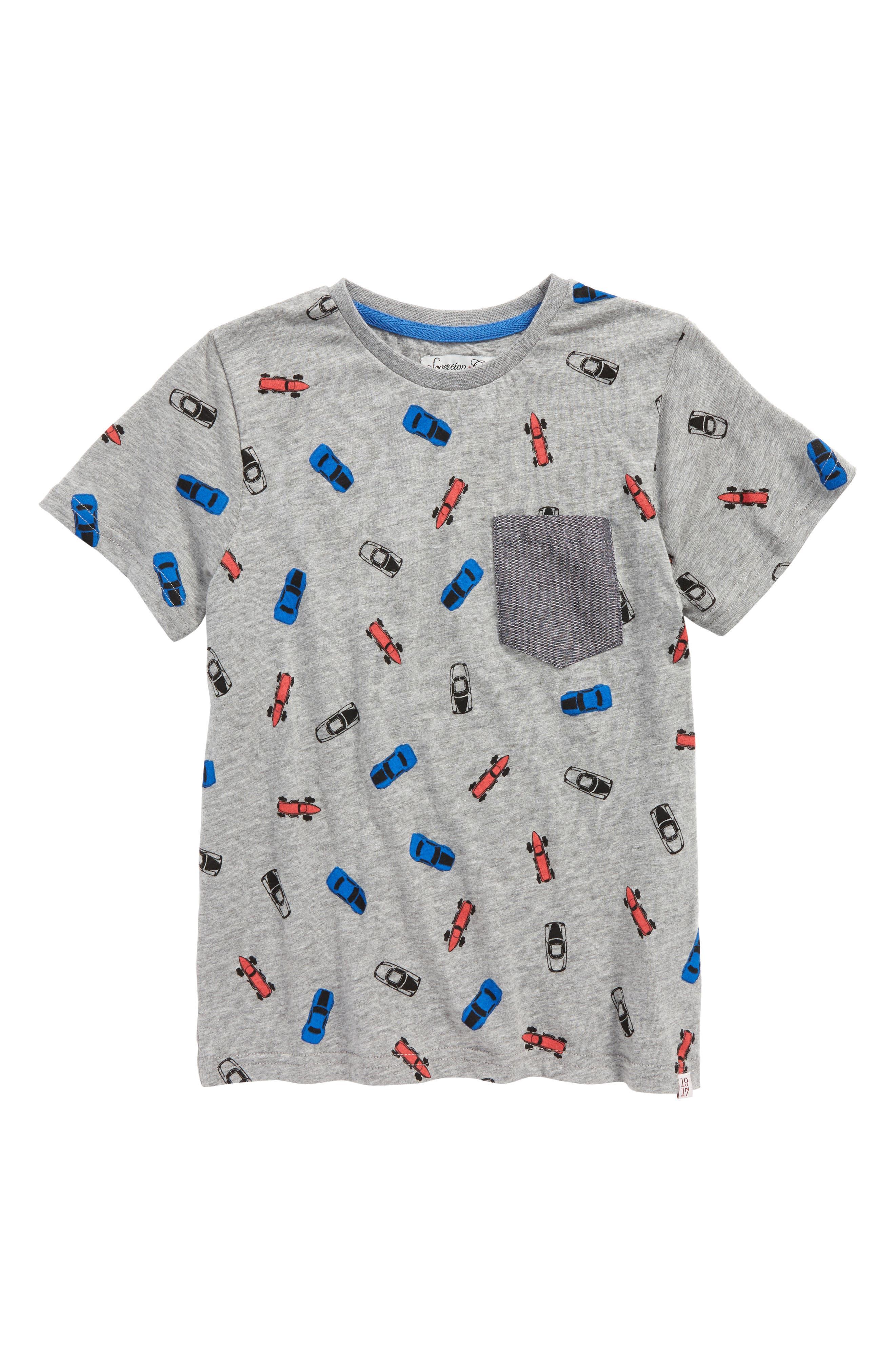 Trav Pocket T-Shirt,                             Main thumbnail 1, color,                             Grey Cars