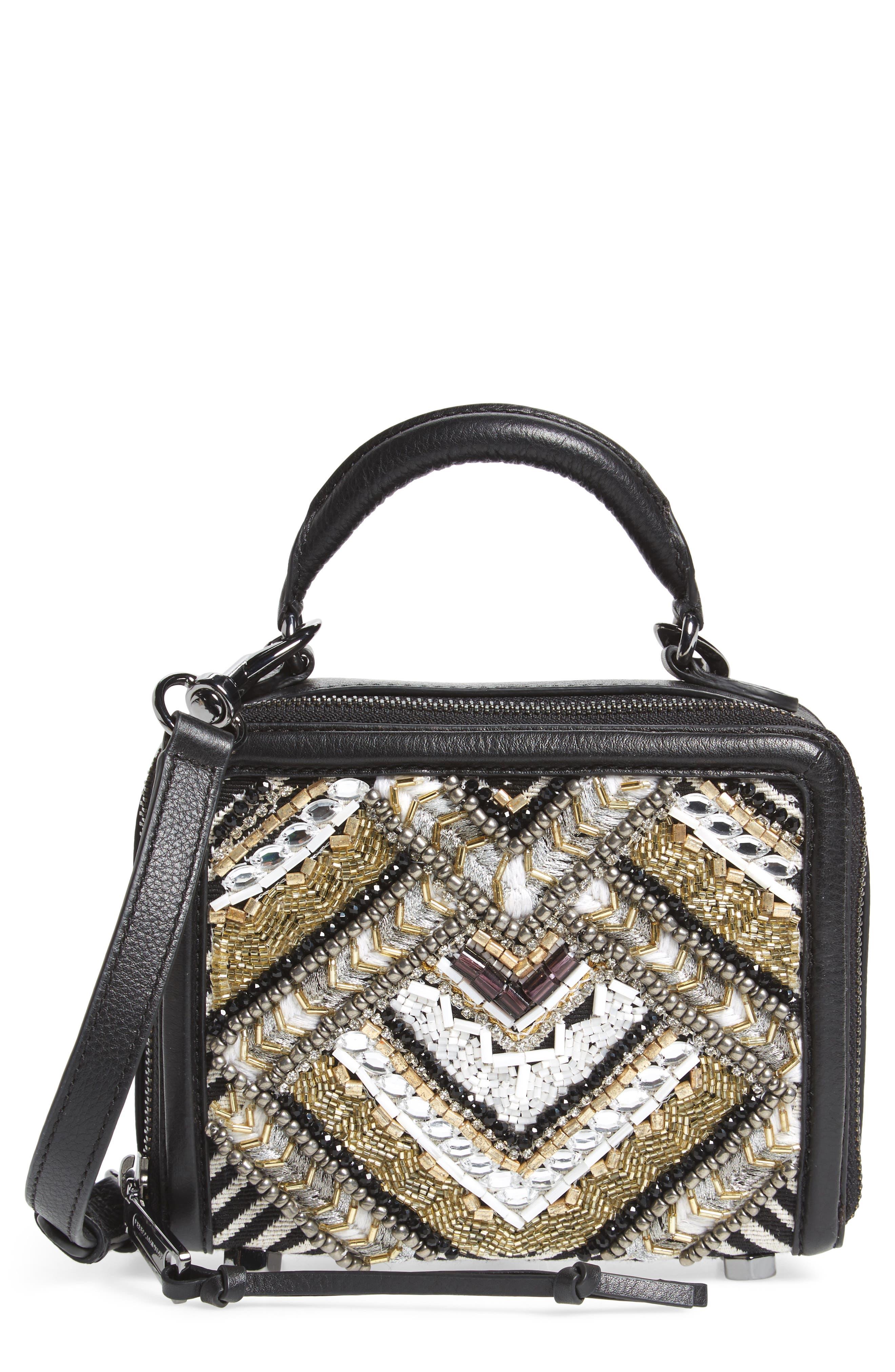 Wonder Box Embellished Crossbody Bag,                             Main thumbnail 1, color,                             Black Metallic Multi
