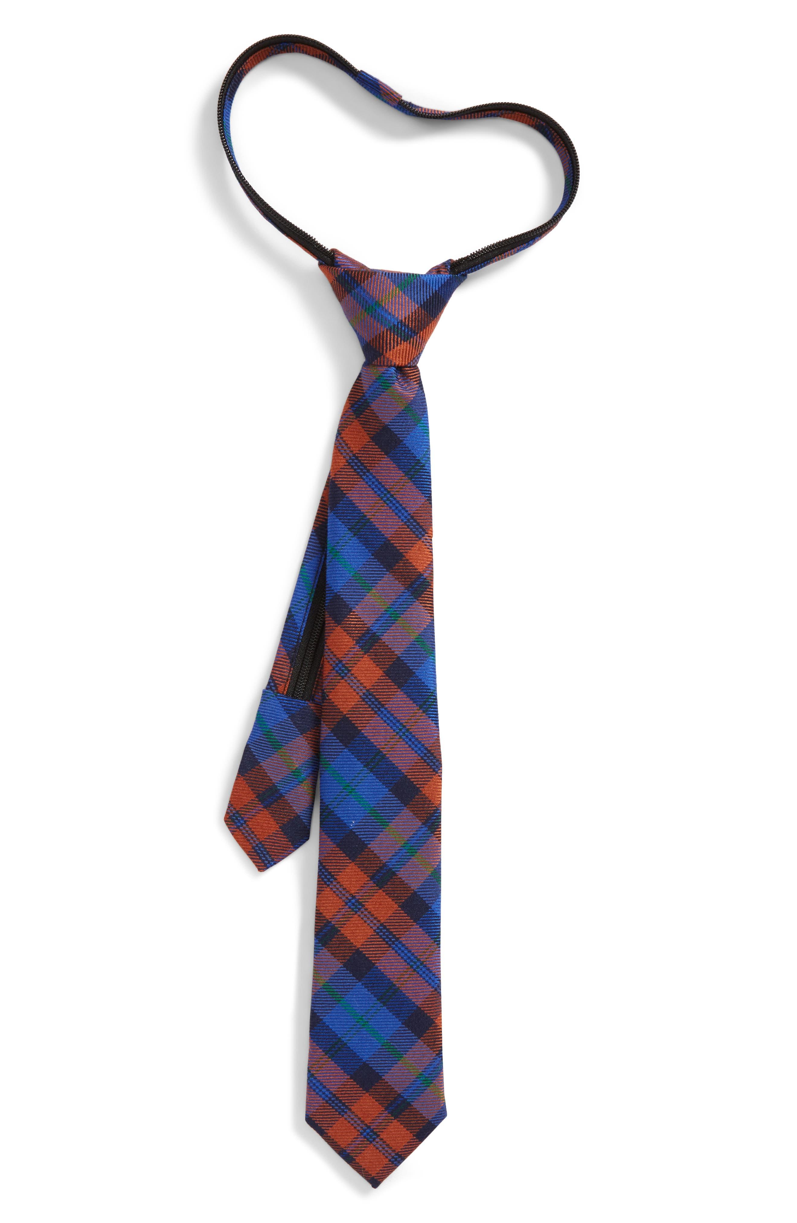 Plaid Wool & Silk Zip Tie,                         Main,                         color, Orange