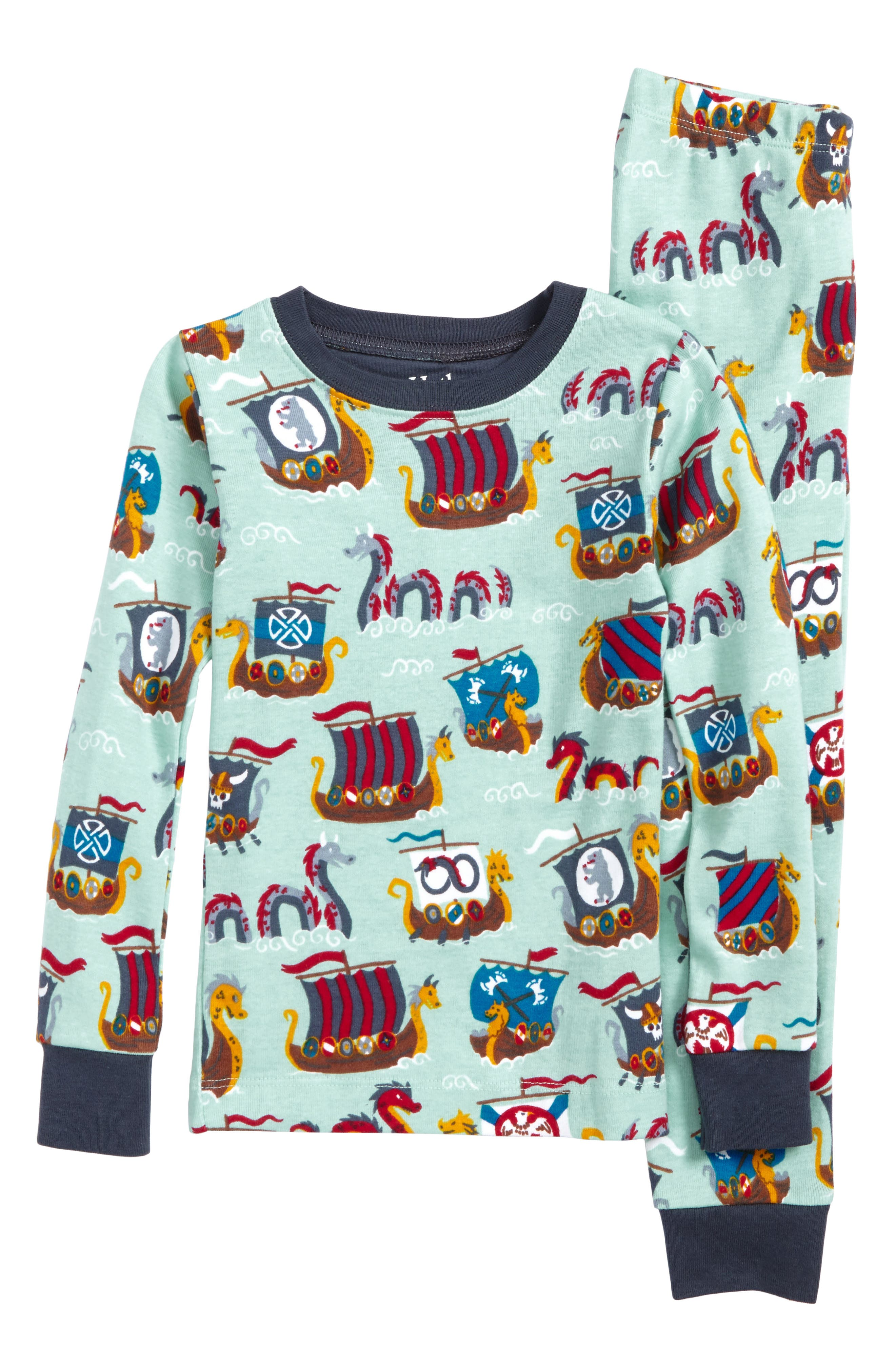 Organic Cotton Fitted Two-Piece Pajamas,                         Main,                         color, Viking And Foes