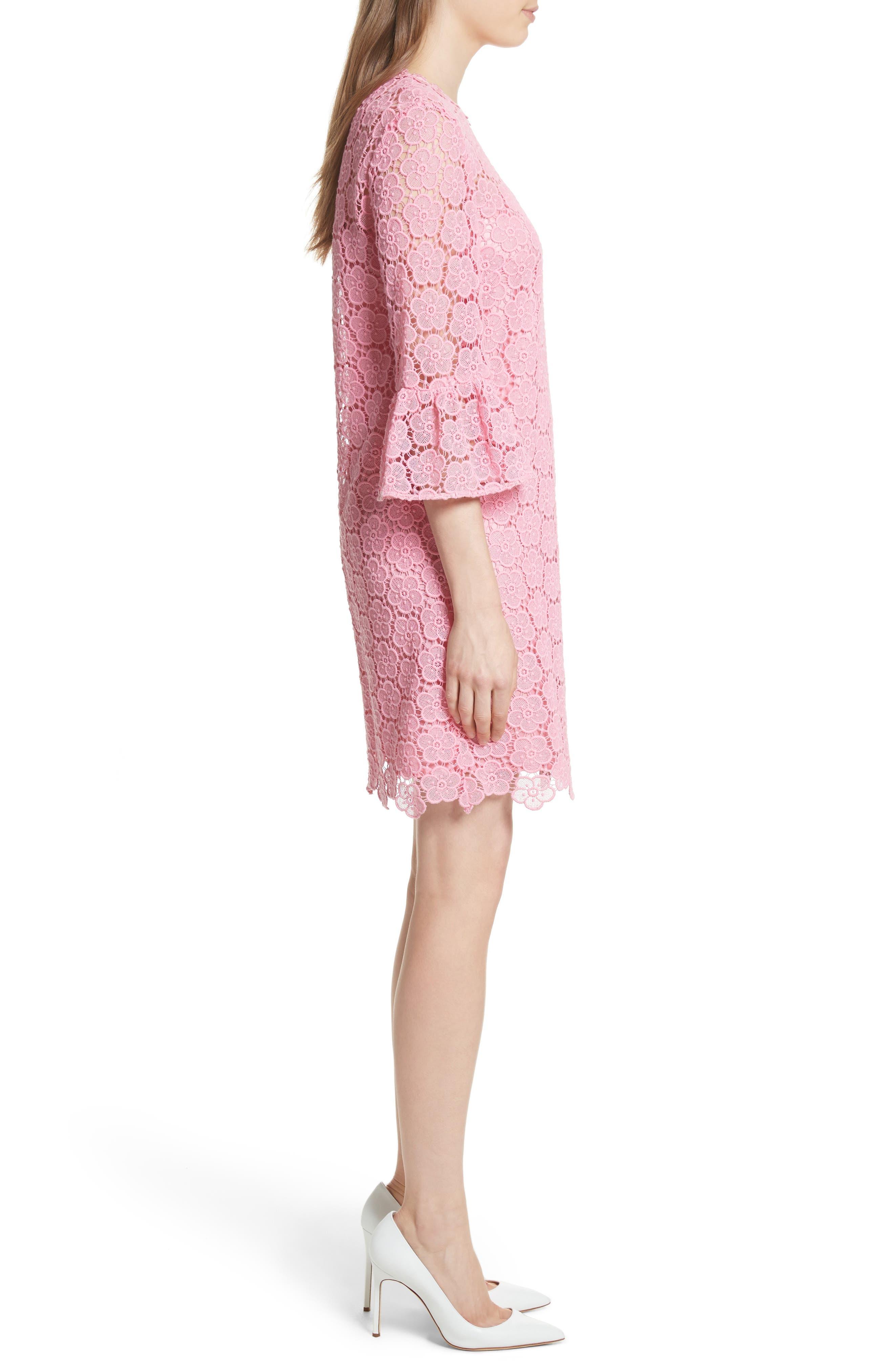 bloom flower lace shift dress,                             Alternate thumbnail 3, color,                             Parisian Pink