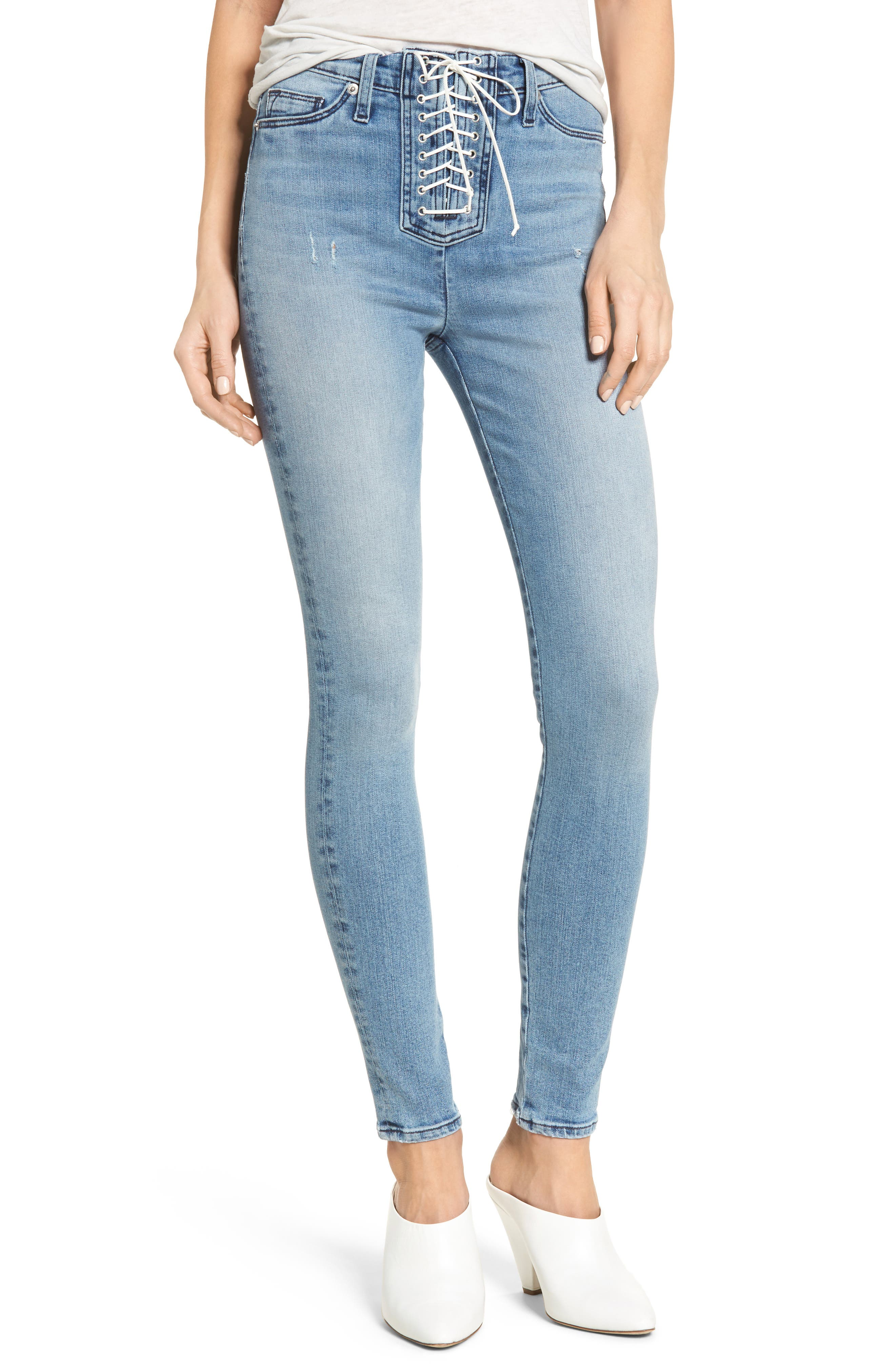 Bullocks Lace-Up High Waist Super Skinny Jeans,                         Main,                         color, Guilty Pleasure