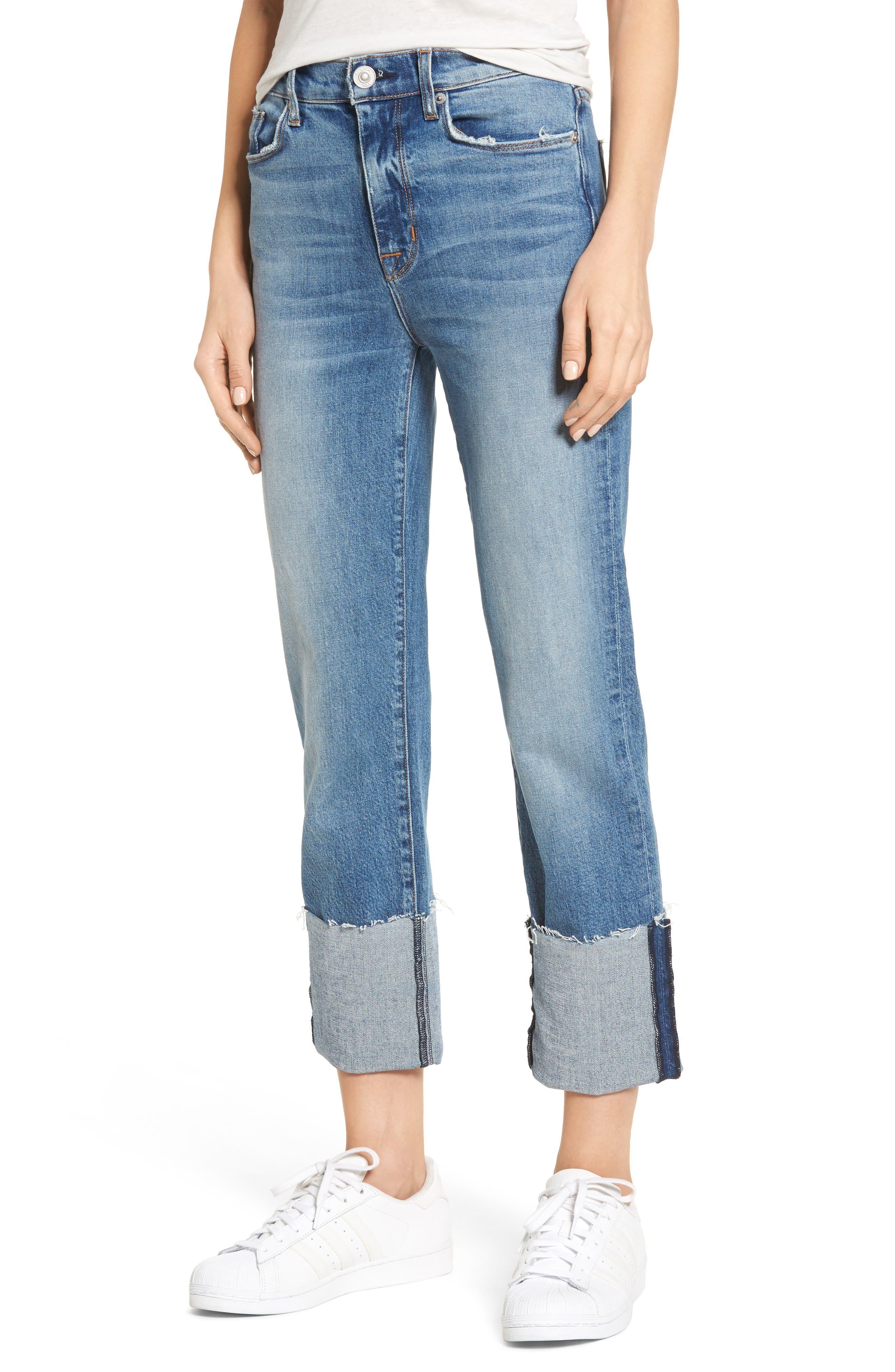 Zoeey High Waist Crop Straight Leg Jeans,                         Main,                         color, Surge