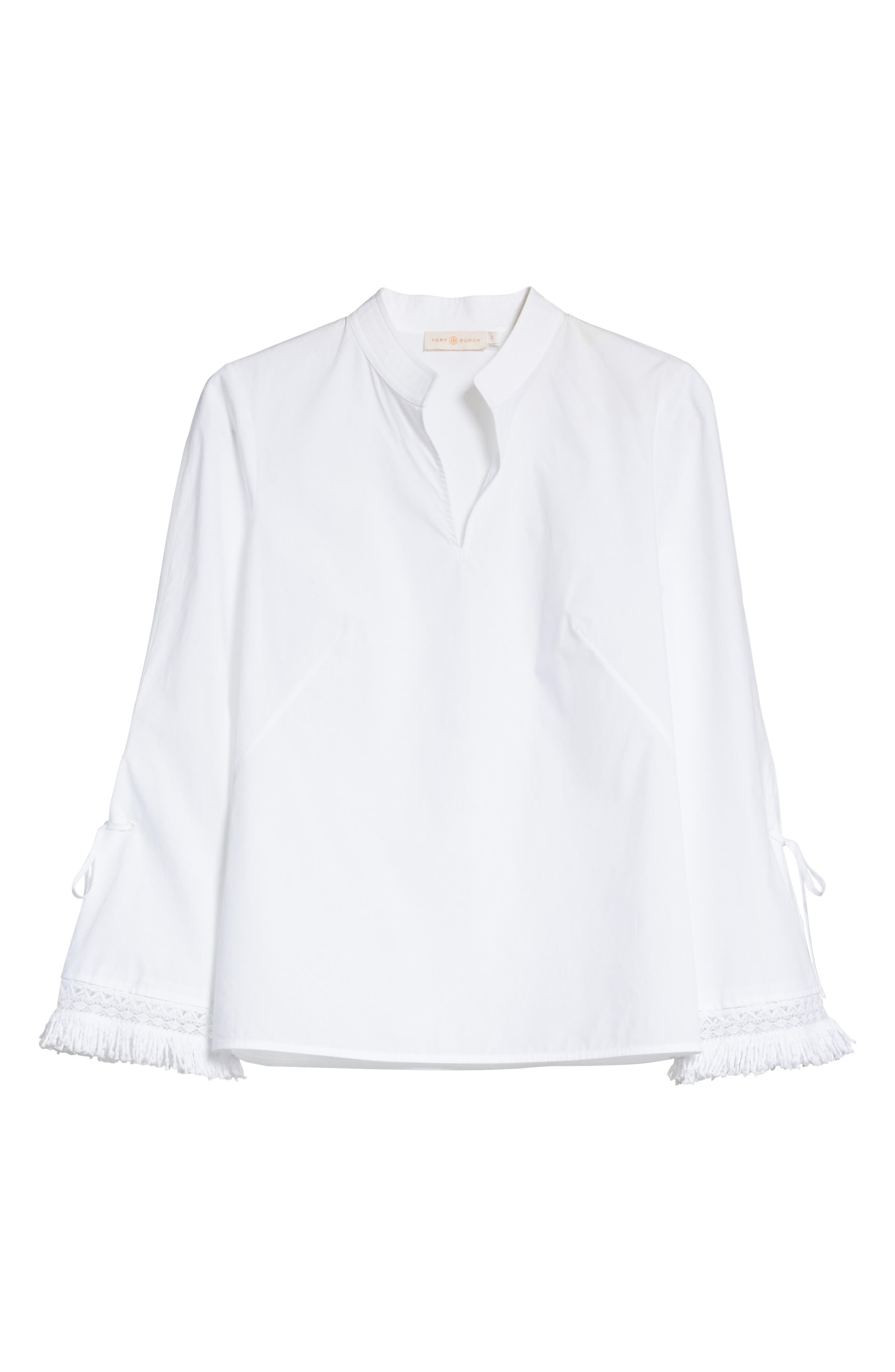 Sophie Tie Sleeve Cotton Blouse,                             Alternate thumbnail 6, color,                             White