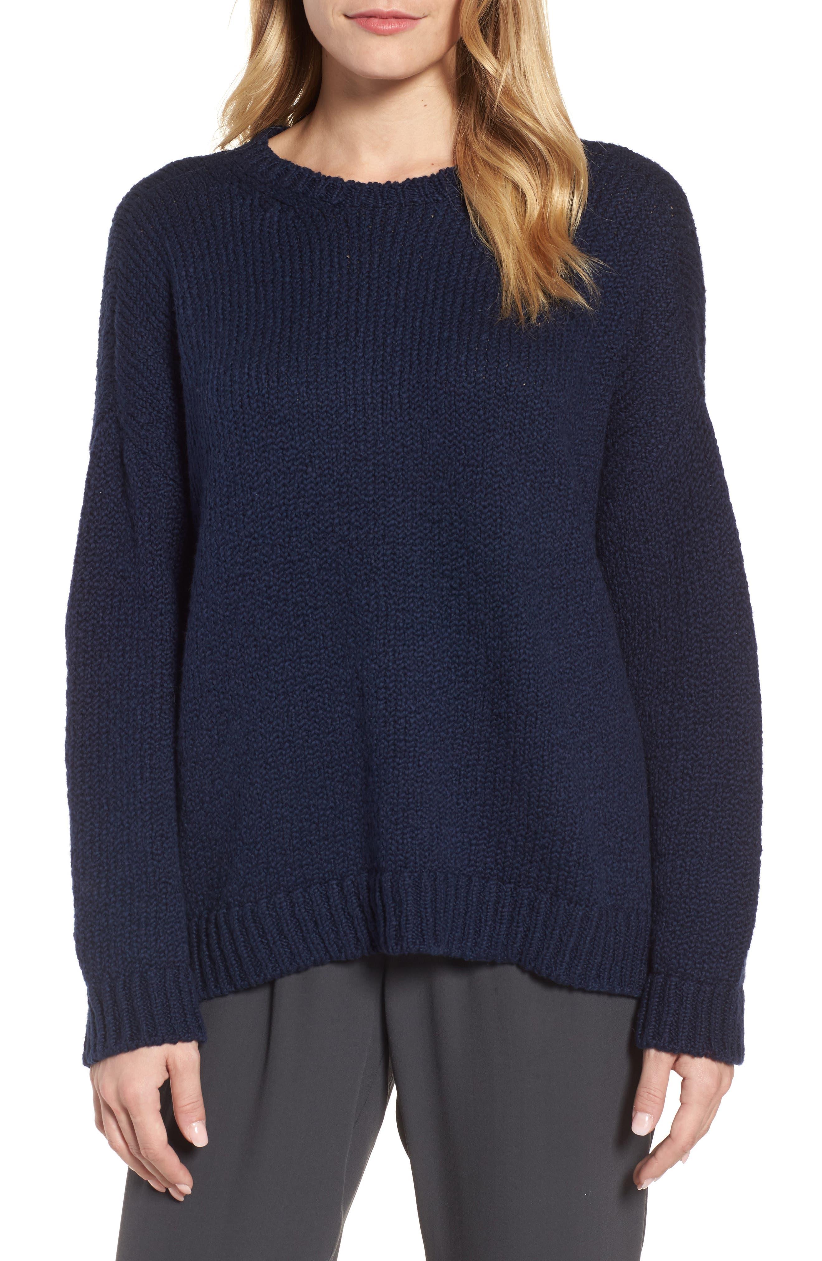 Organic Cotton Crewneck Sweater,                         Main,                         color, Midnight