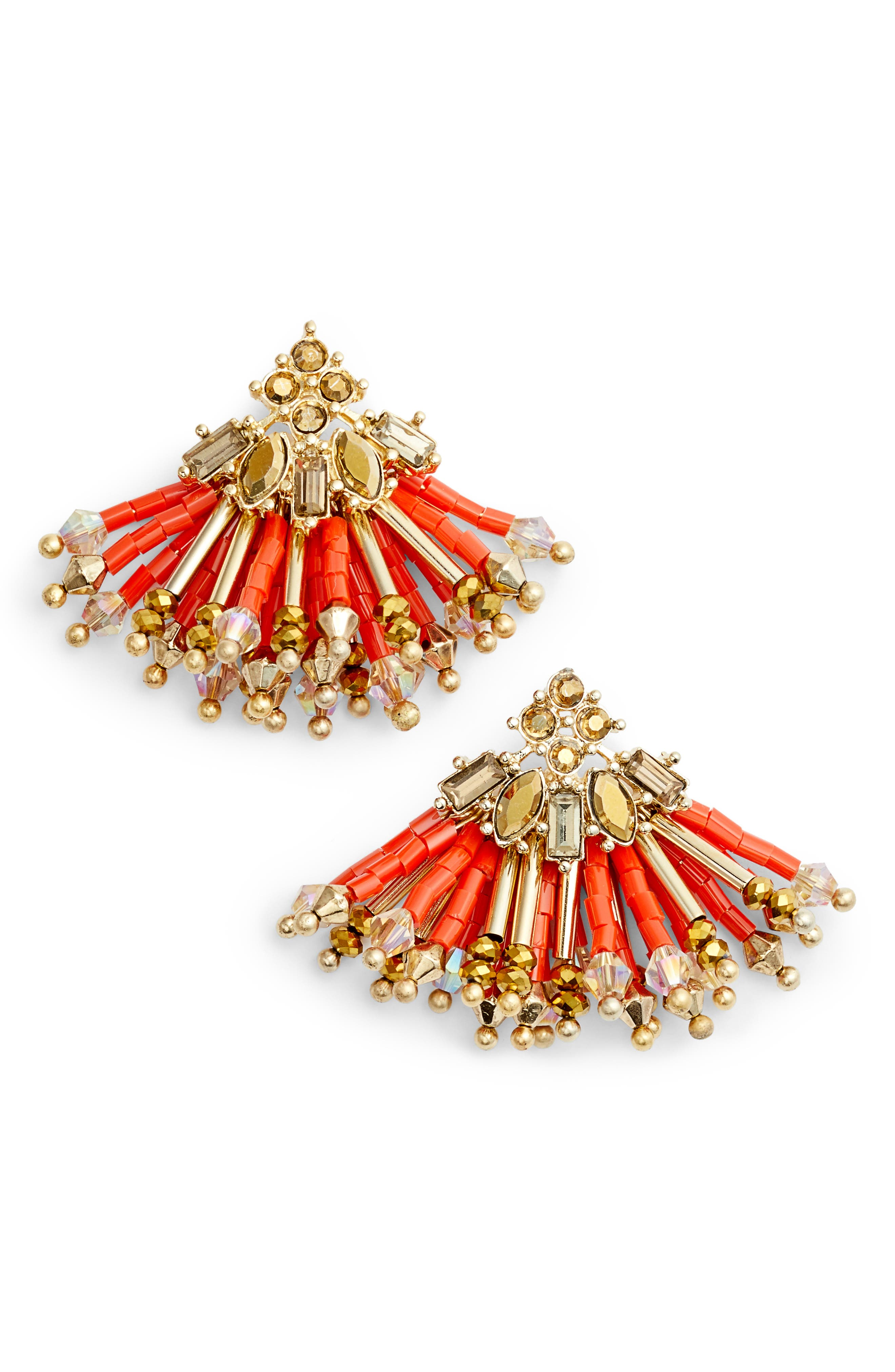 CRISTABELLE Multibead Fan Earrings