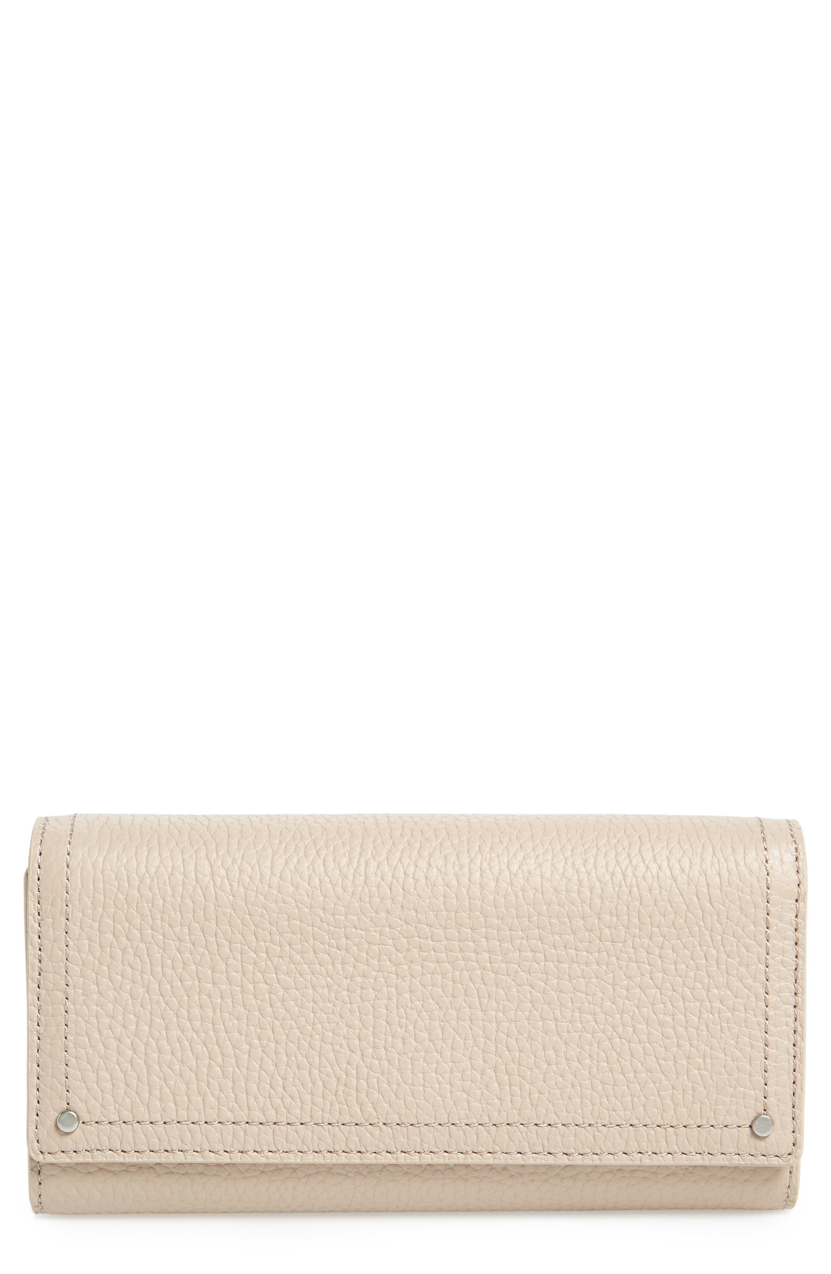 Leather Continental Wallet,                             Main thumbnail 1, color,                             Beige Morn
