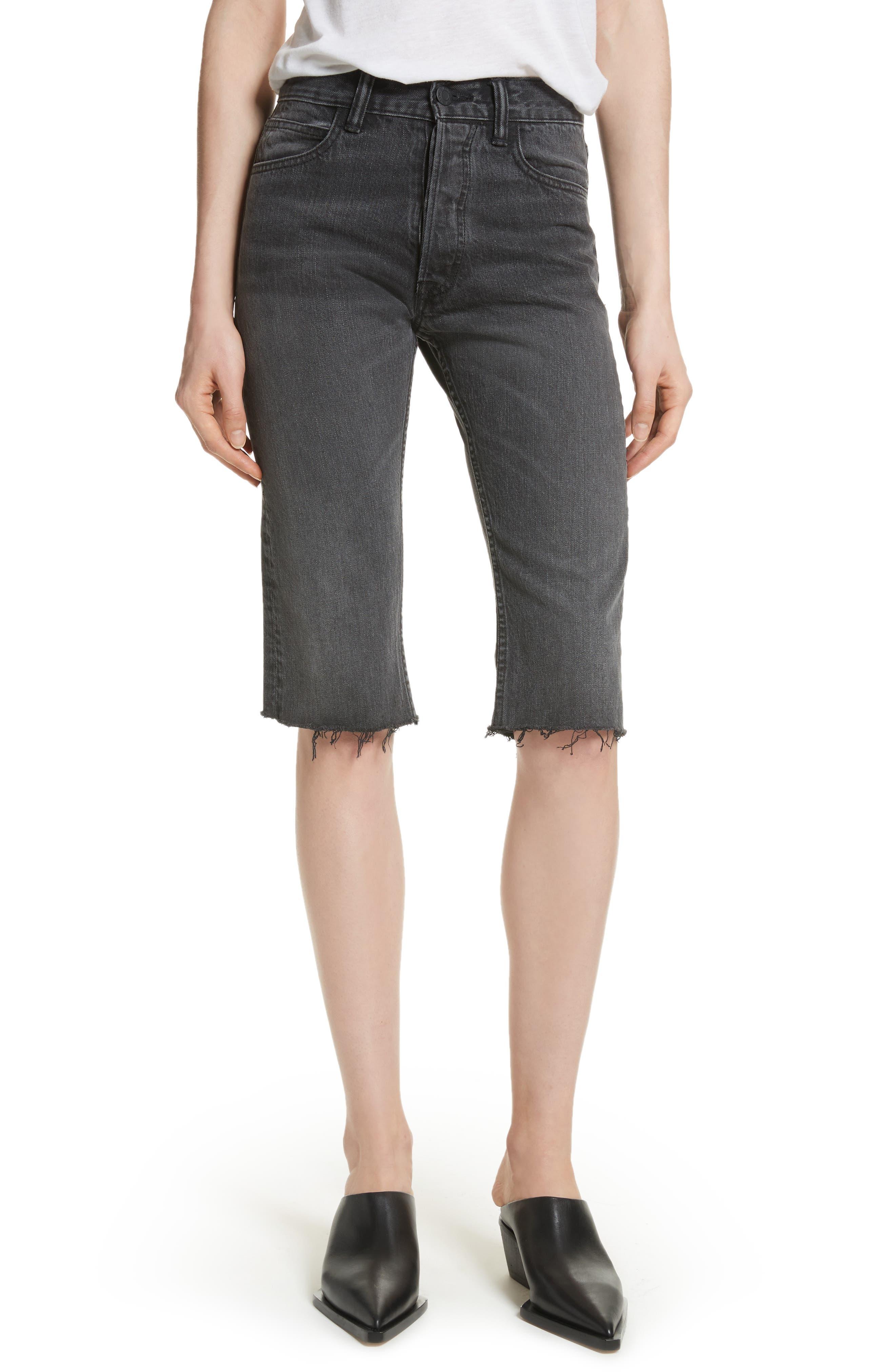 Cutoff Knee Length Denim Shorts,                         Main,                         color, Rigid Black