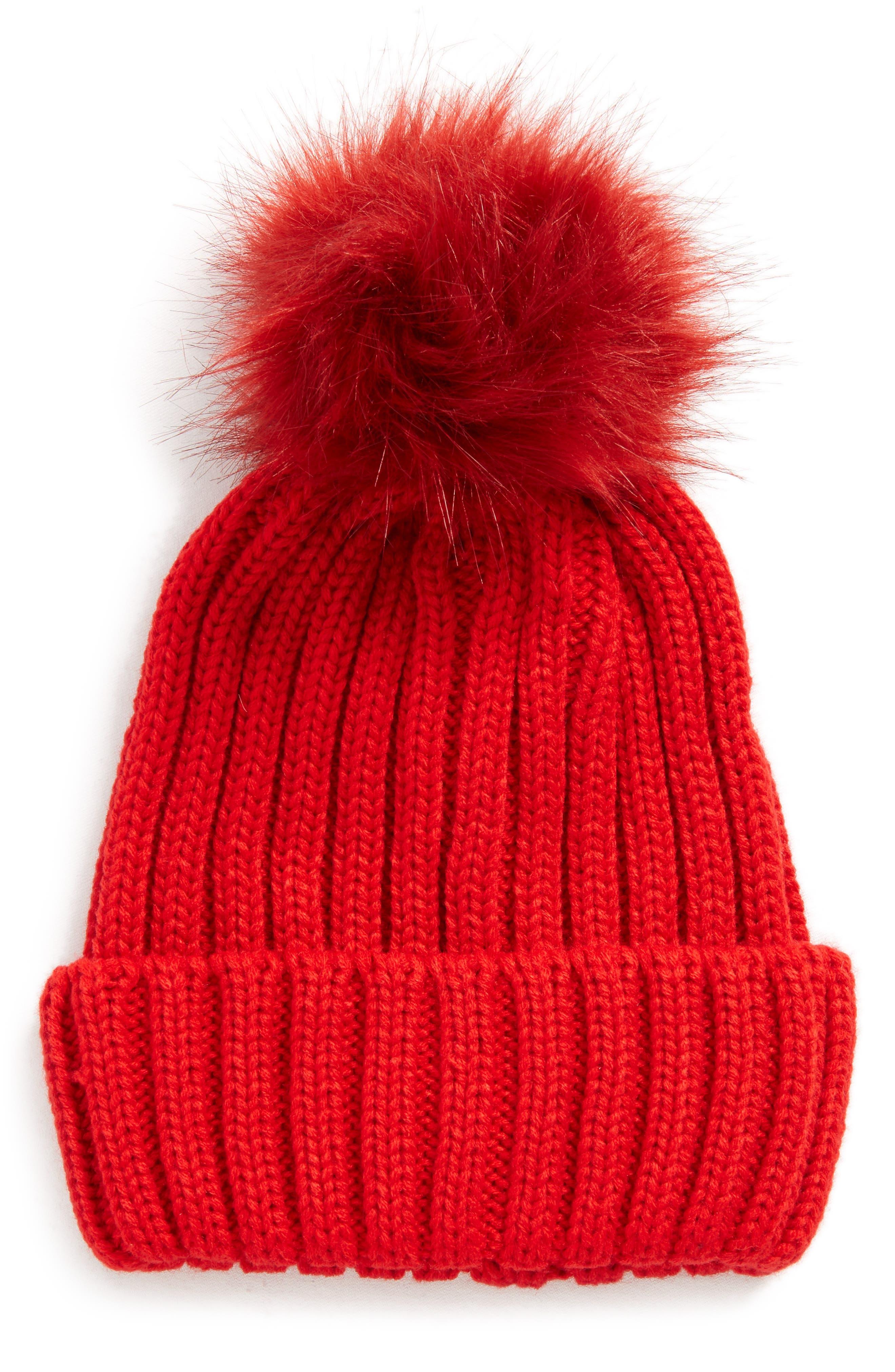 Faux Fur Pompom Beanie,                         Main,                         color, Red