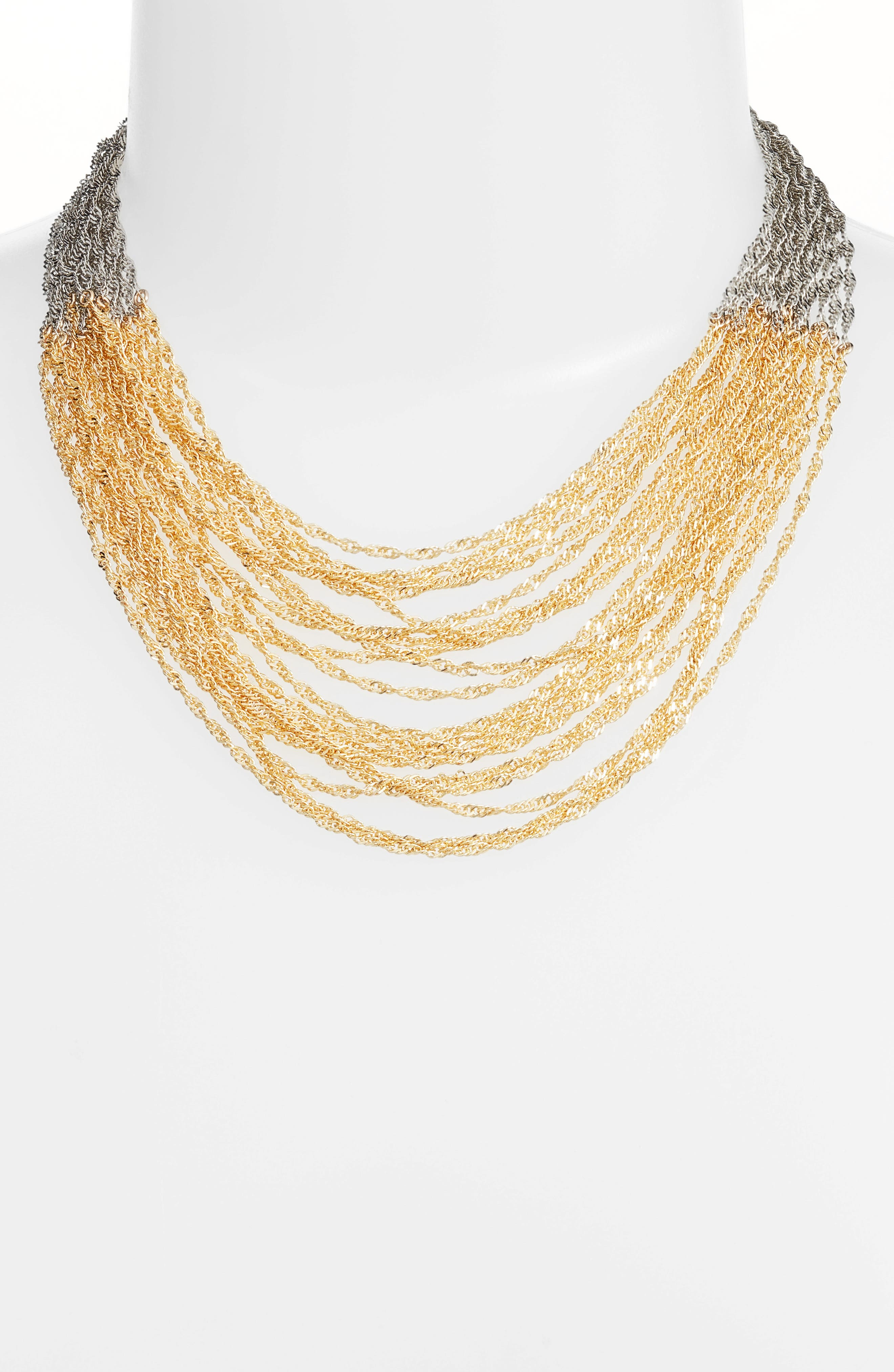 Colorblock Chain Necklace,                             Alternate thumbnail 2, color,                             Silver/ Gold