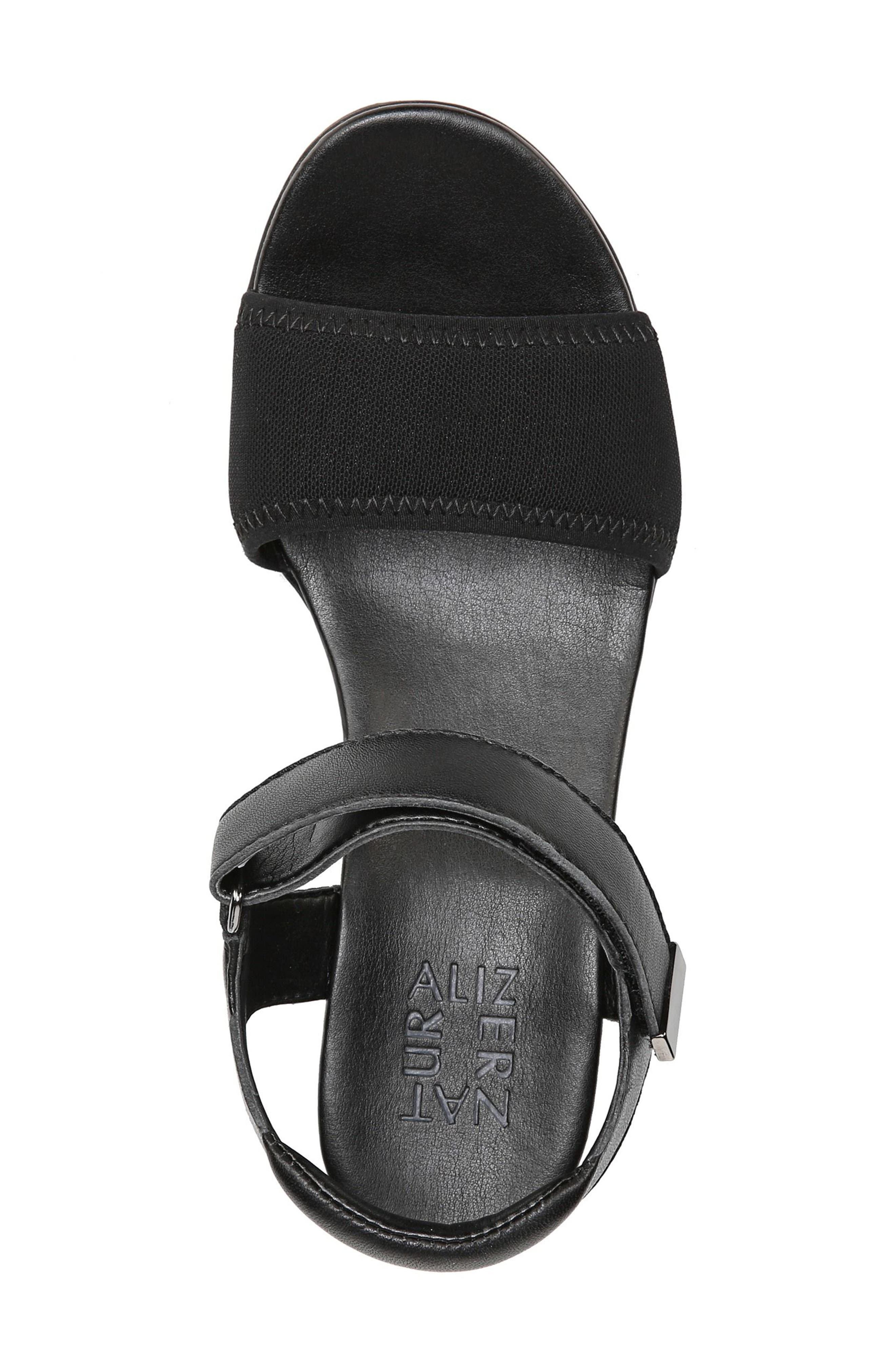 Irena Wedge Sandal,                             Alternate thumbnail 7, color,                             Black Leather