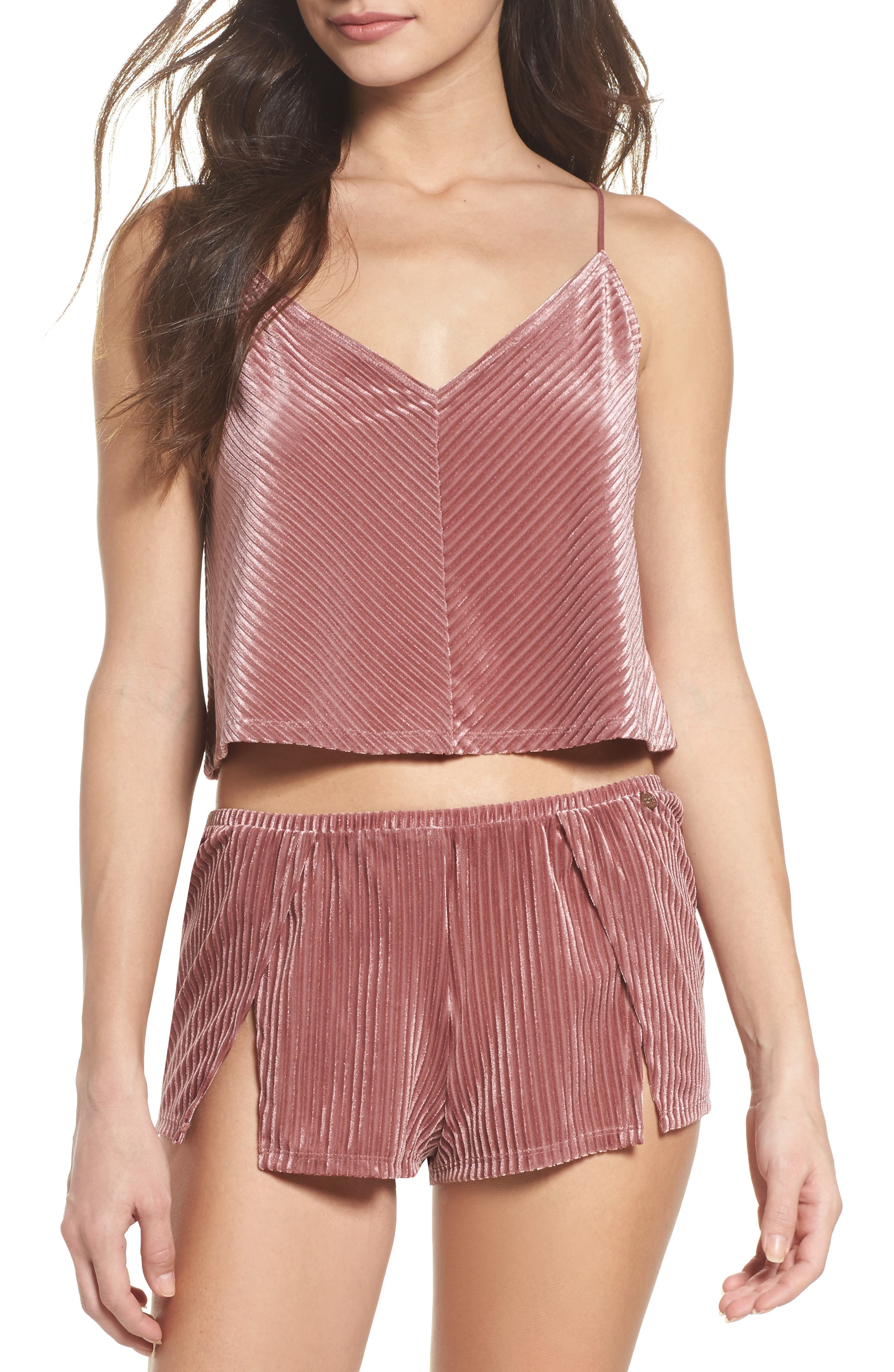 Crop Velvet Camisole,                             Alternate thumbnail 4, color,                             Rose