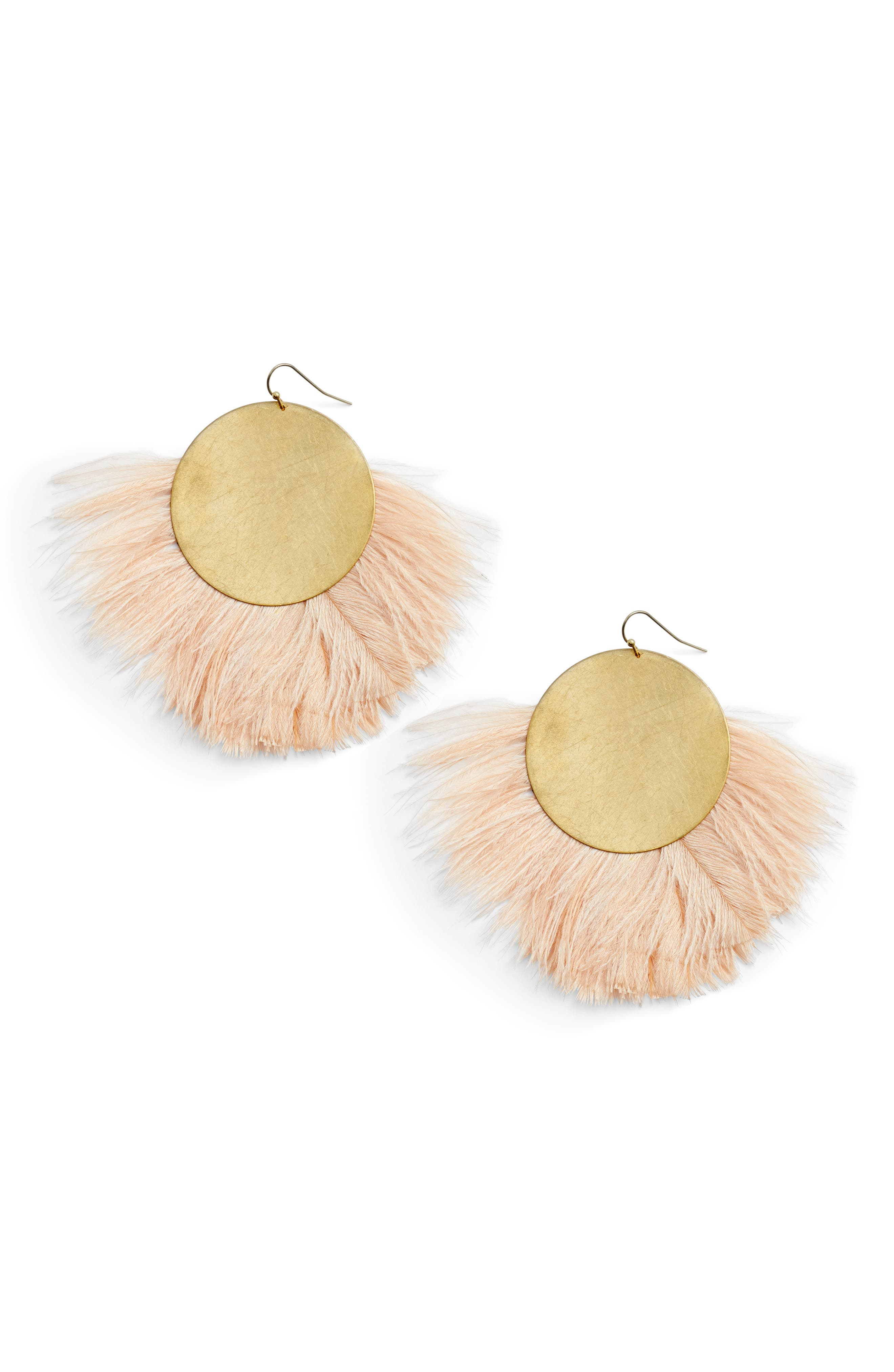 Feather Disc Earrings,                             Main thumbnail 1, color,                             Blush/ Gold
