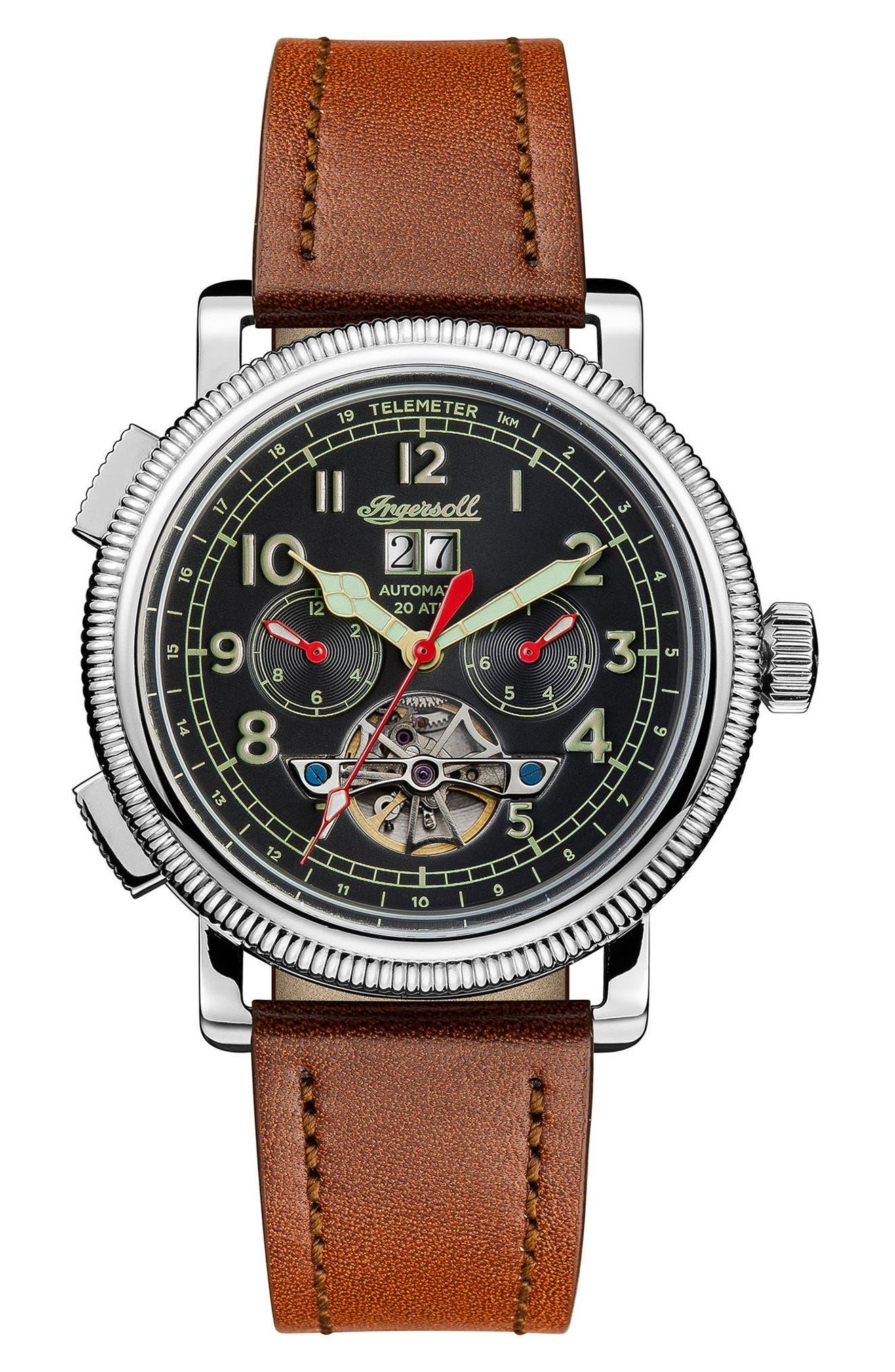 Main Image - Ingersoll Bloch Open Heart Automatic Multifunction Leather Strap Watch, 45mm