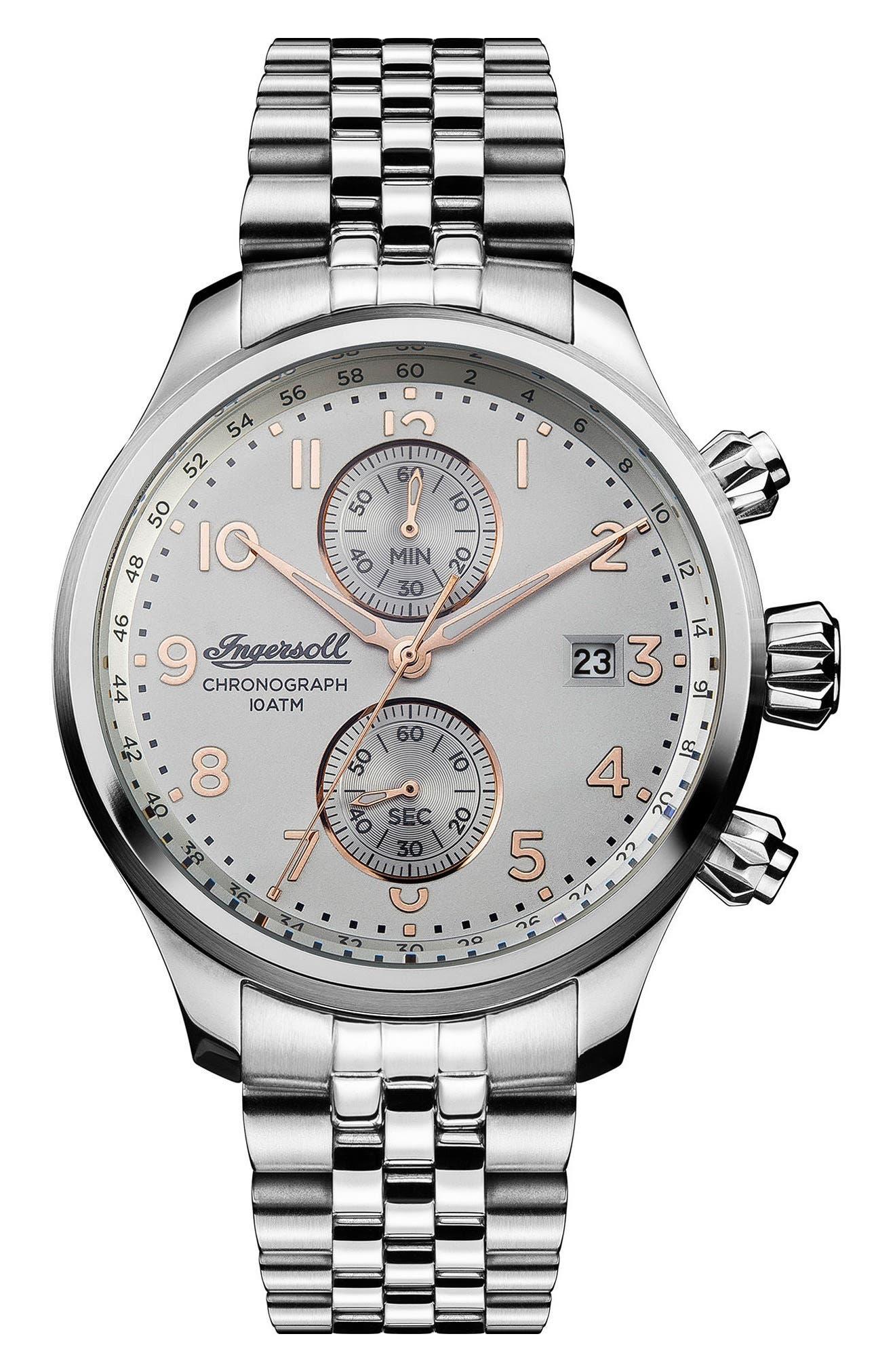 Ingersoll Delta Chronograph Bracelet Watch, 47mm,                         Main,                         color, Silver