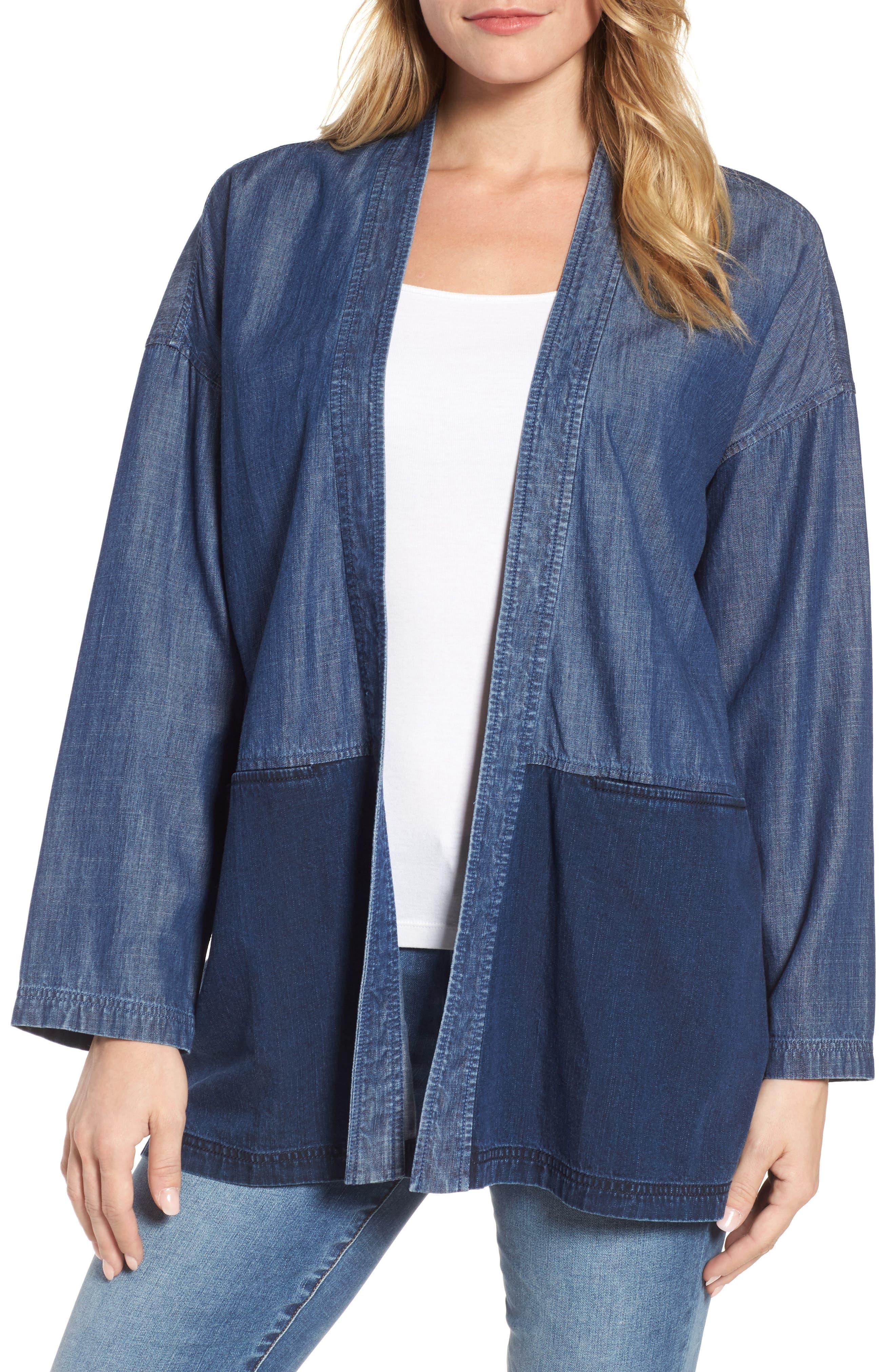 Main Image - Eileen Fisher Denim Kimono Jacket (Regular & Petite)