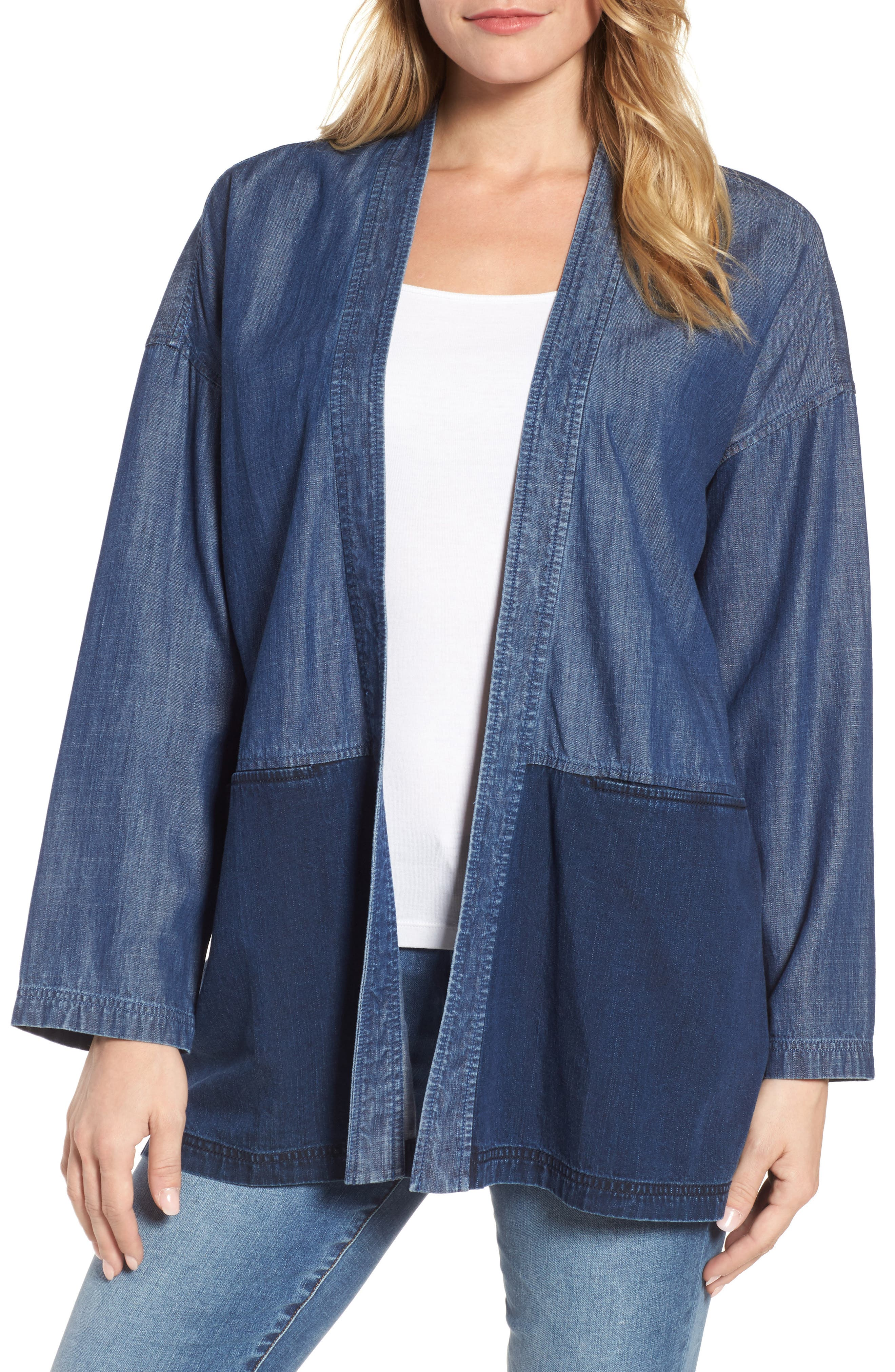 Denim Kimono Jacket,                         Main,                         color, Midnight