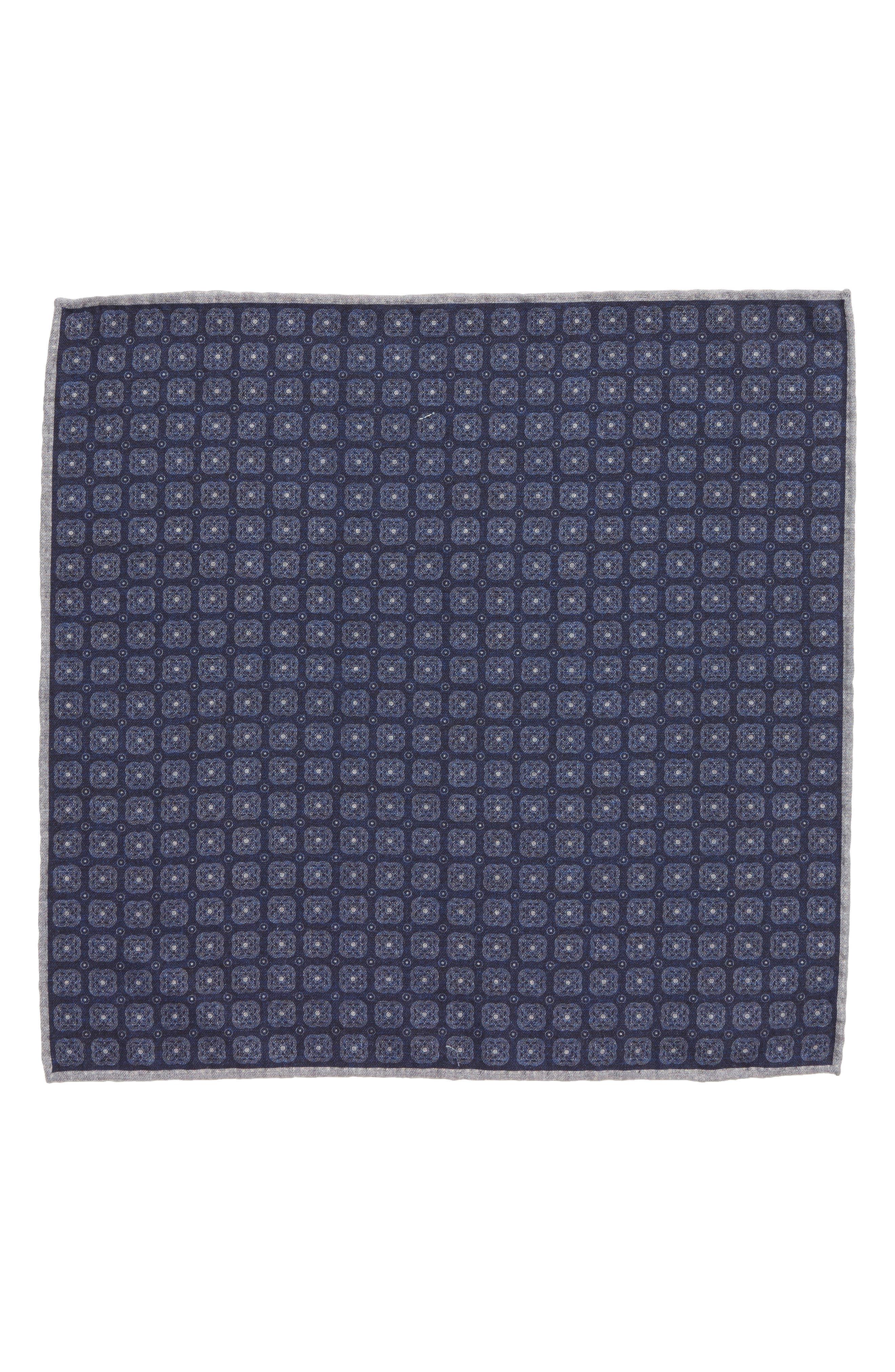 Alternate Image 2  - Eleventy Medallion Wool & Cotton Pocket Square