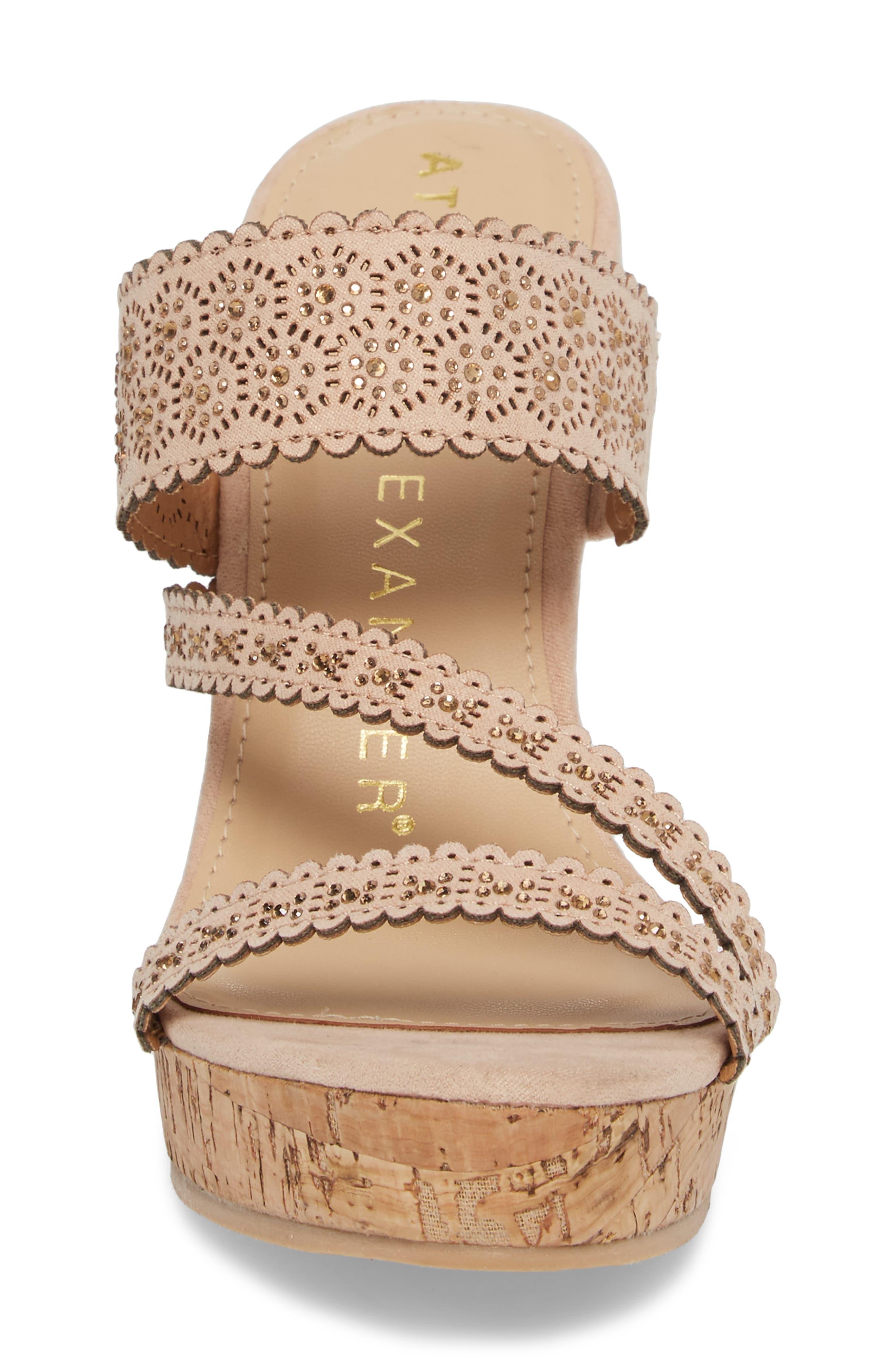 Aerin Embellished Wedge Sandal,                             Alternate thumbnail 4, color,                             Blush Suede